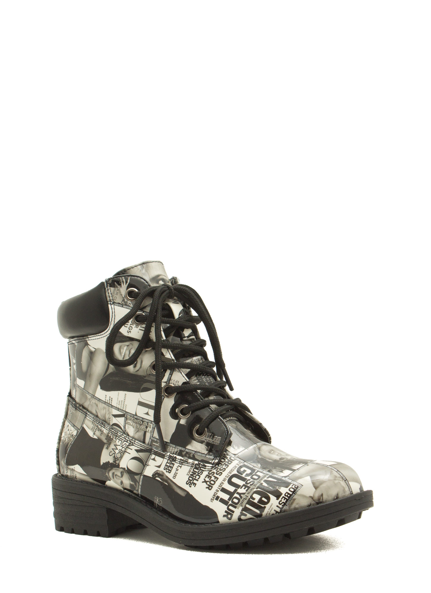 Cover Girl Faux Patent Lace-Up Boots BLACK