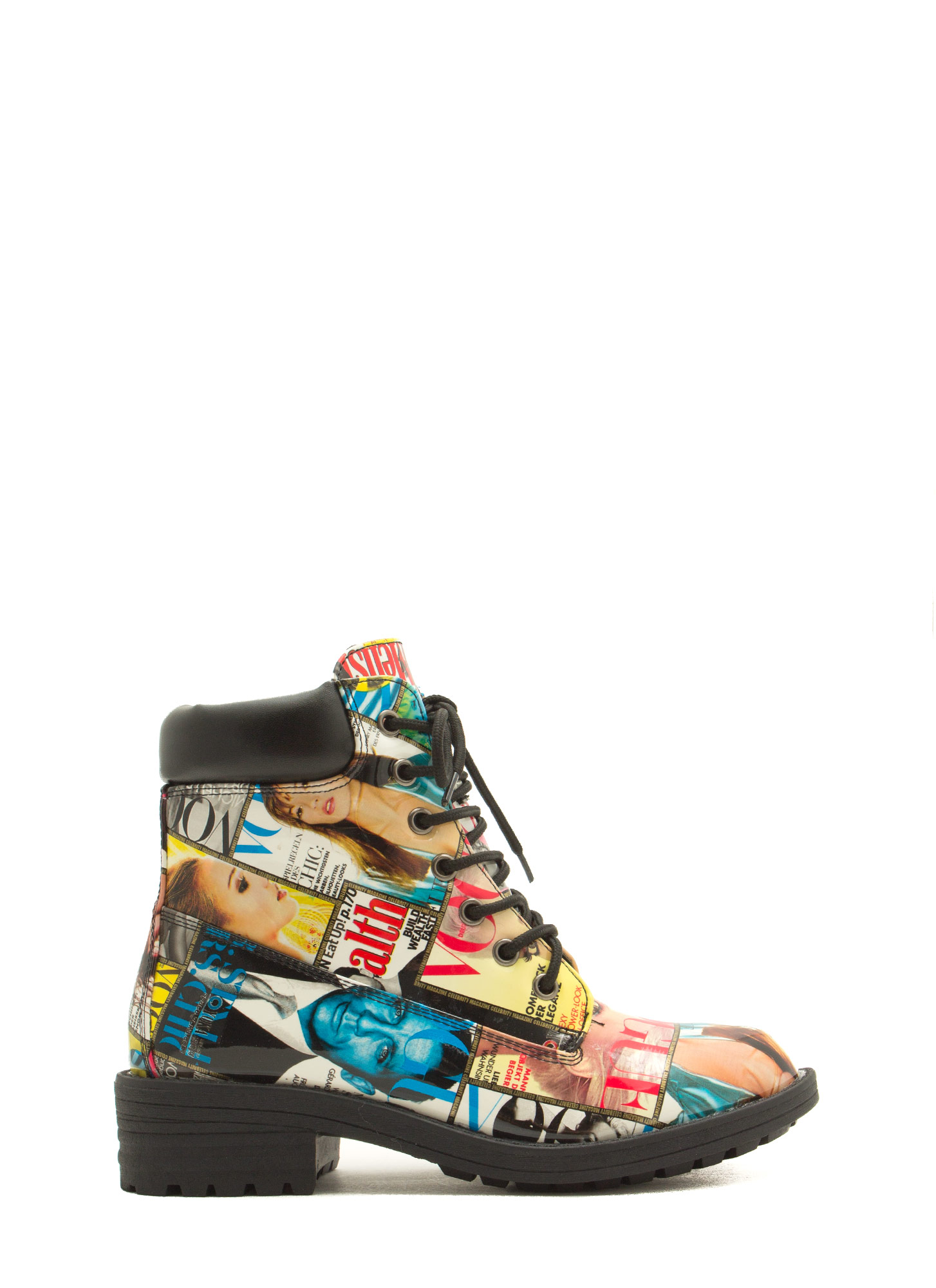 Cover Girl Faux Patent Lace-Up Boots MULTI