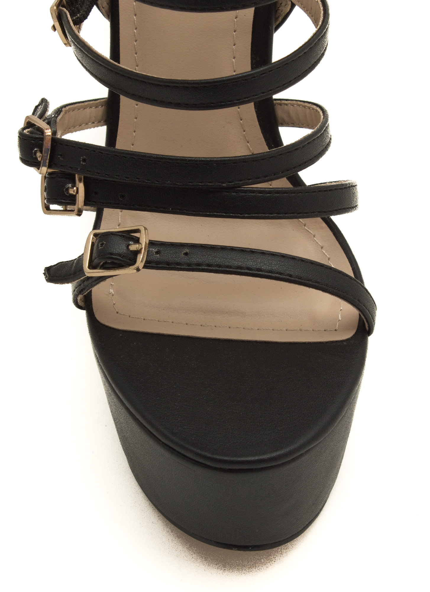 Buckle Up Caged Platform Heels BLACK