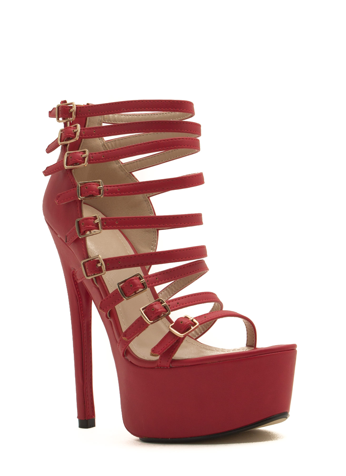 Buckle Up Caged Platform Heels RED