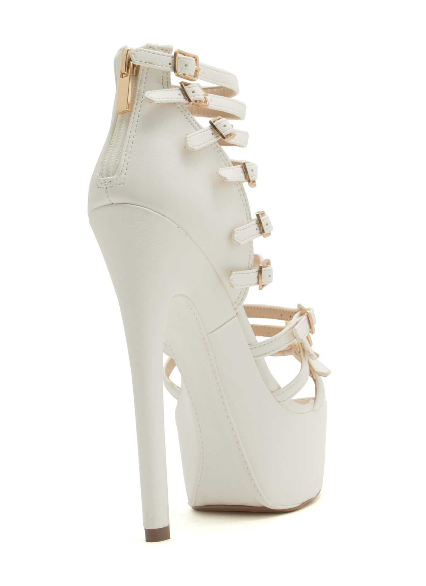 Buckle Up Caged Platform Heels WHITE