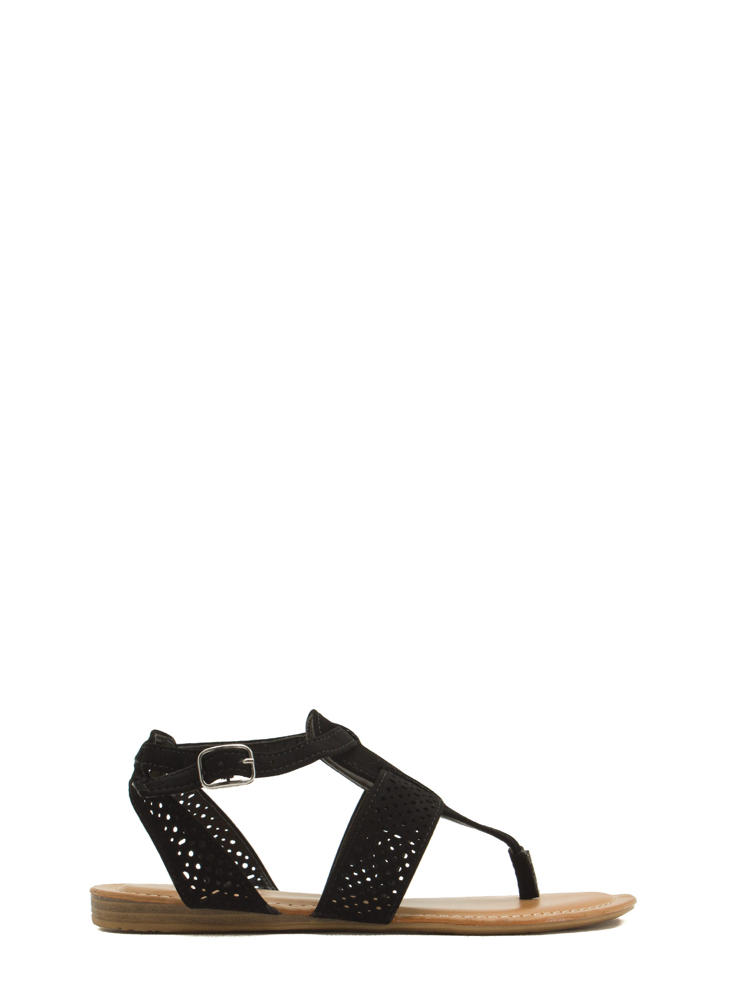 Perforated Strap Tapered Sandals BLACK