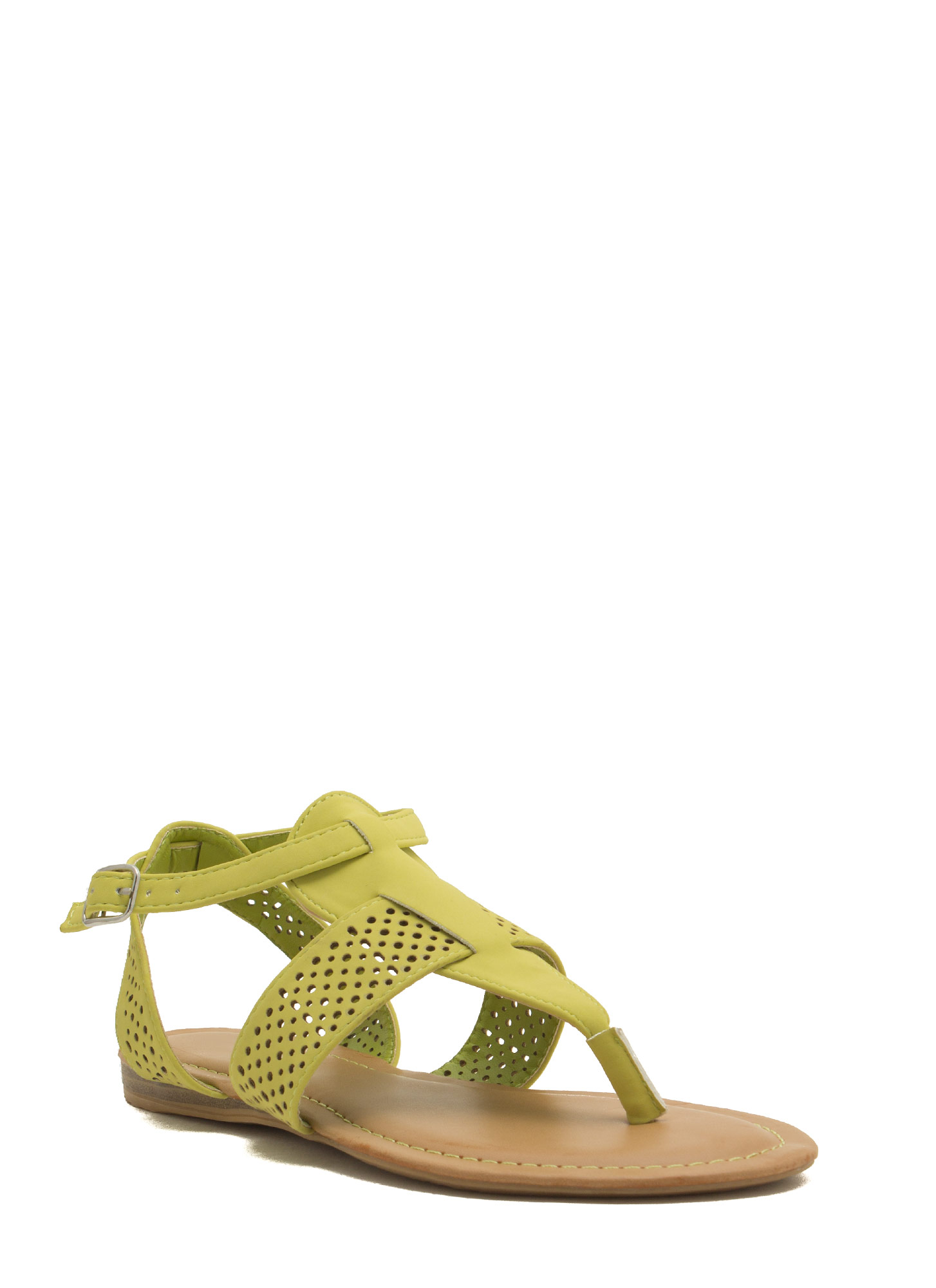 Perforated Strap Tapered Sandals LIME
