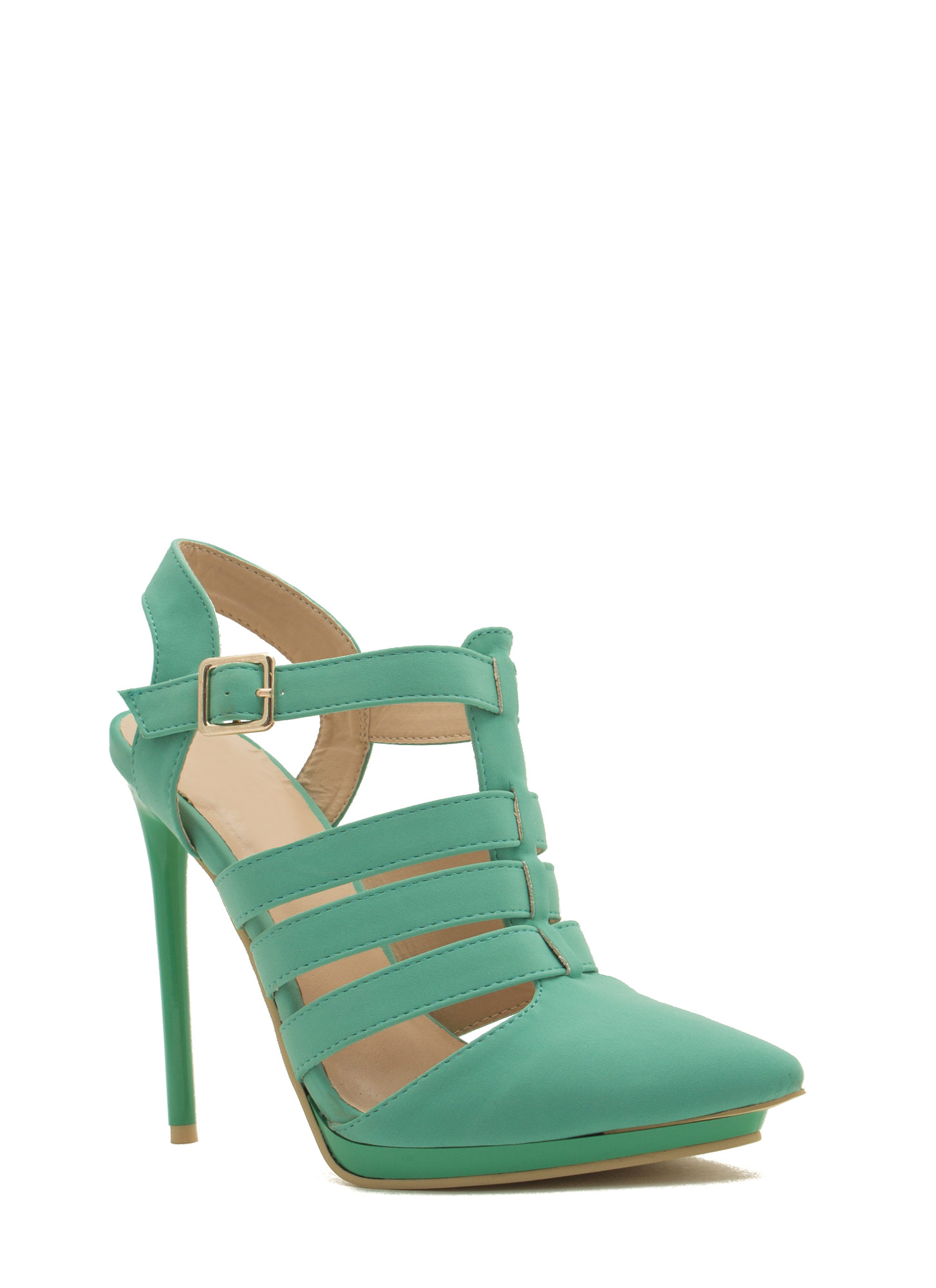 Get Your Point Across Strappy Heels MINT