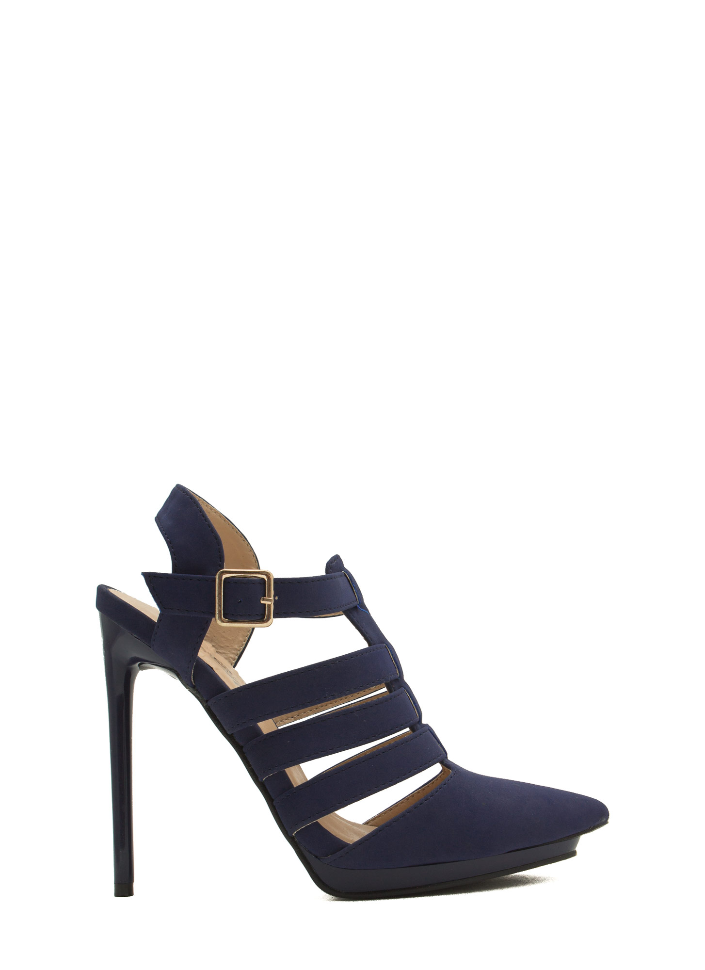 Get Your Point Across Strappy Heels ROYAL
