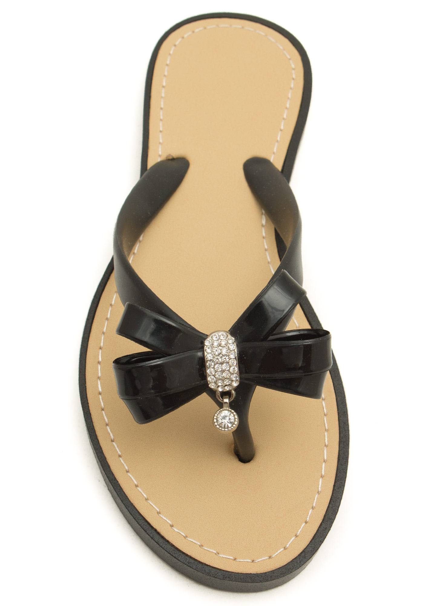 Bow For It Jeweled Thong Sandals BLACK