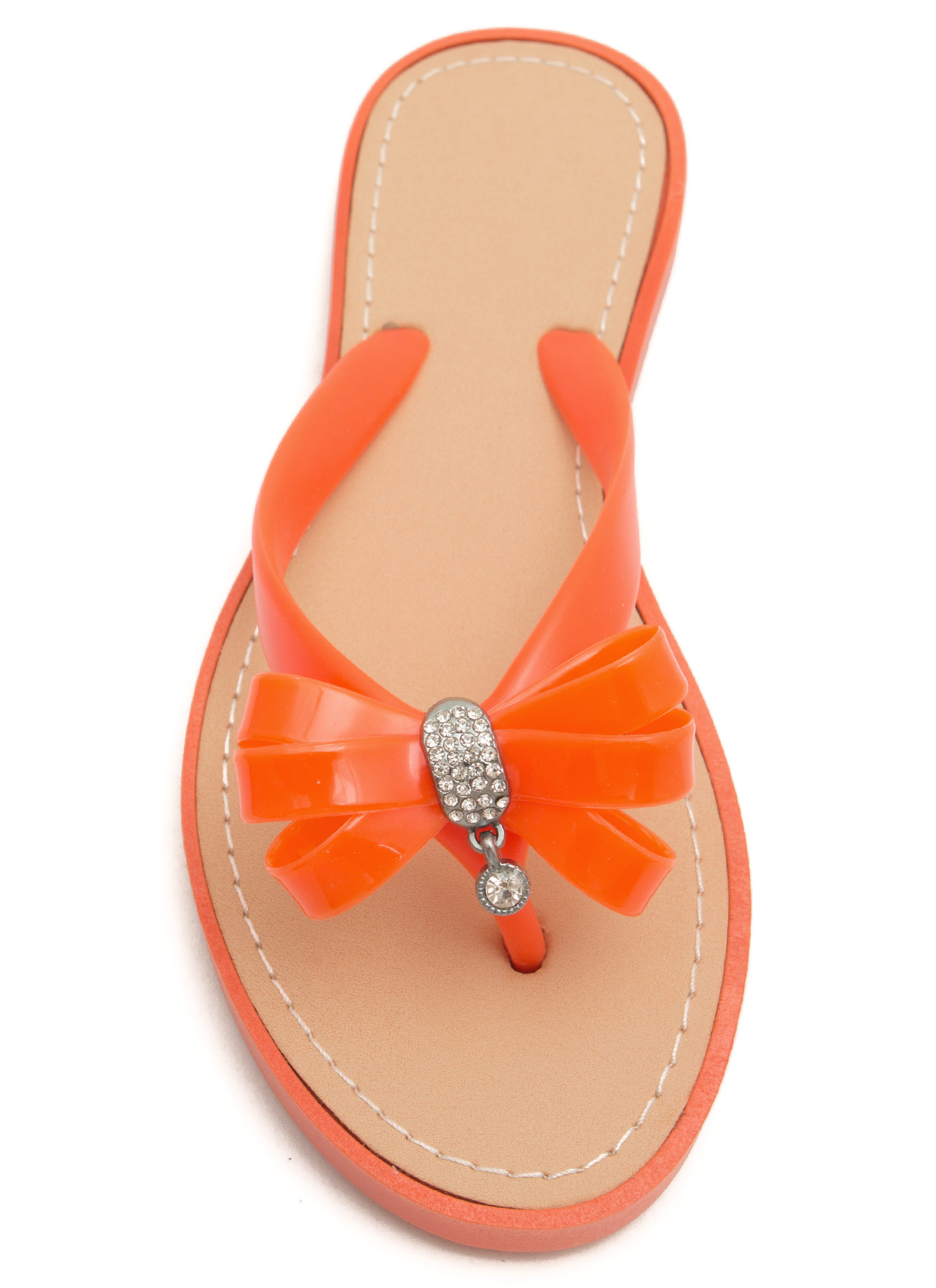 Bow For It Jeweled Thong Sandals TANGERINE
