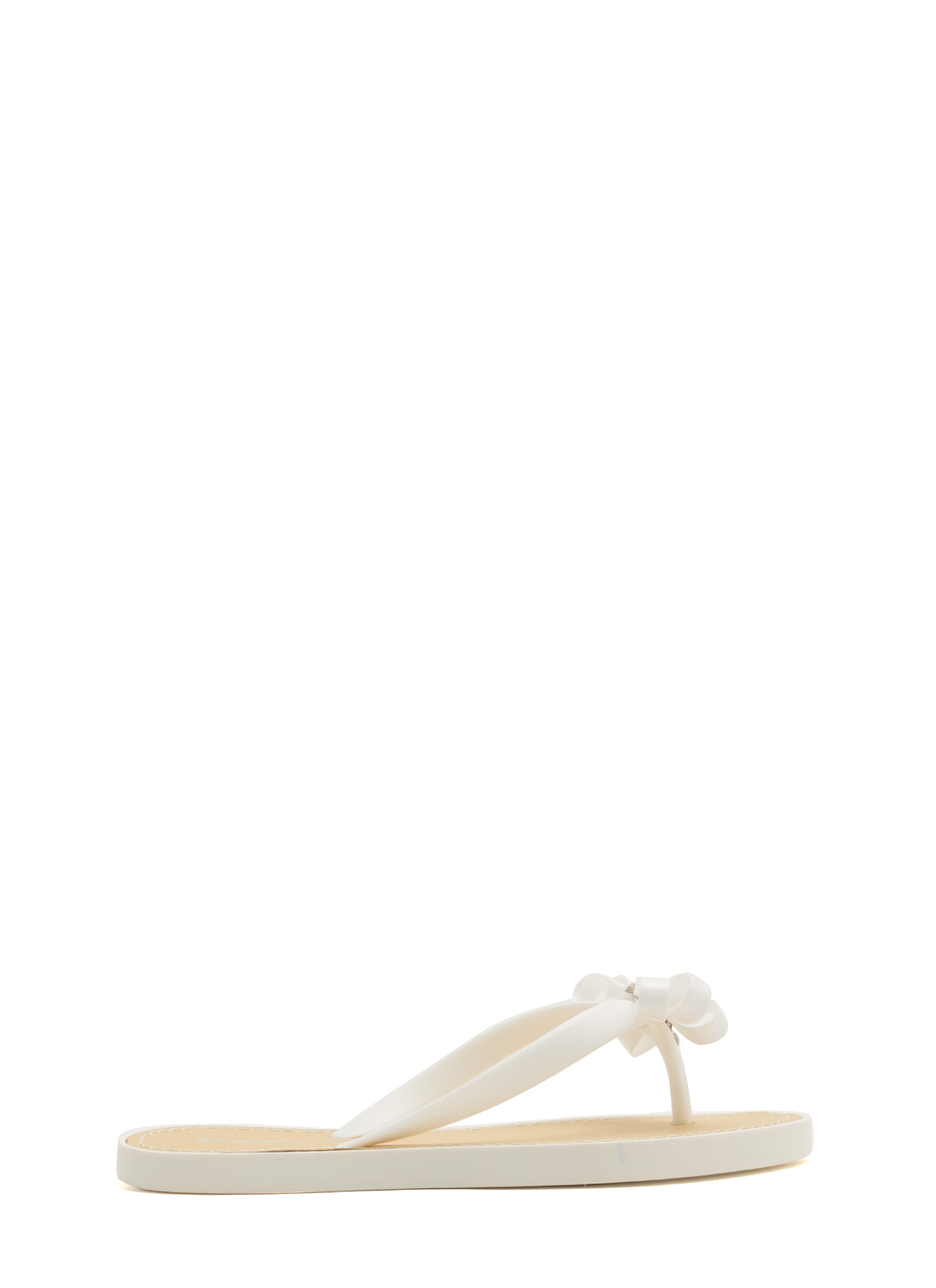 Bow For It Jeweled Thong Sandals WHITE
