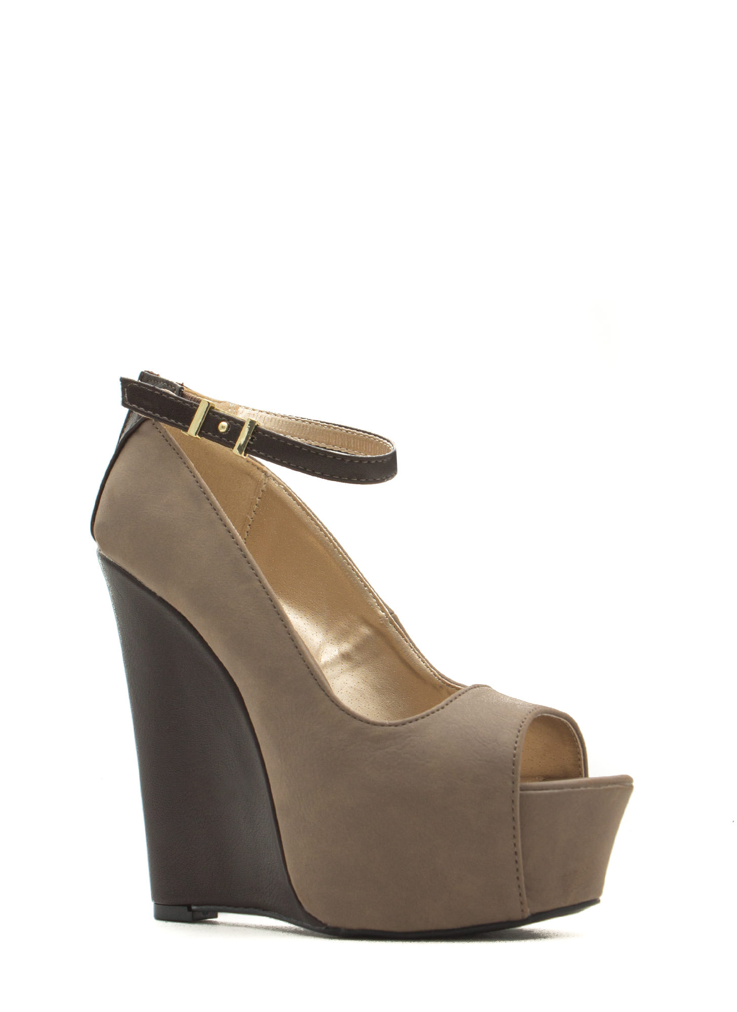 Peep Show Ankle Strap Platform Wedges TAUPE
