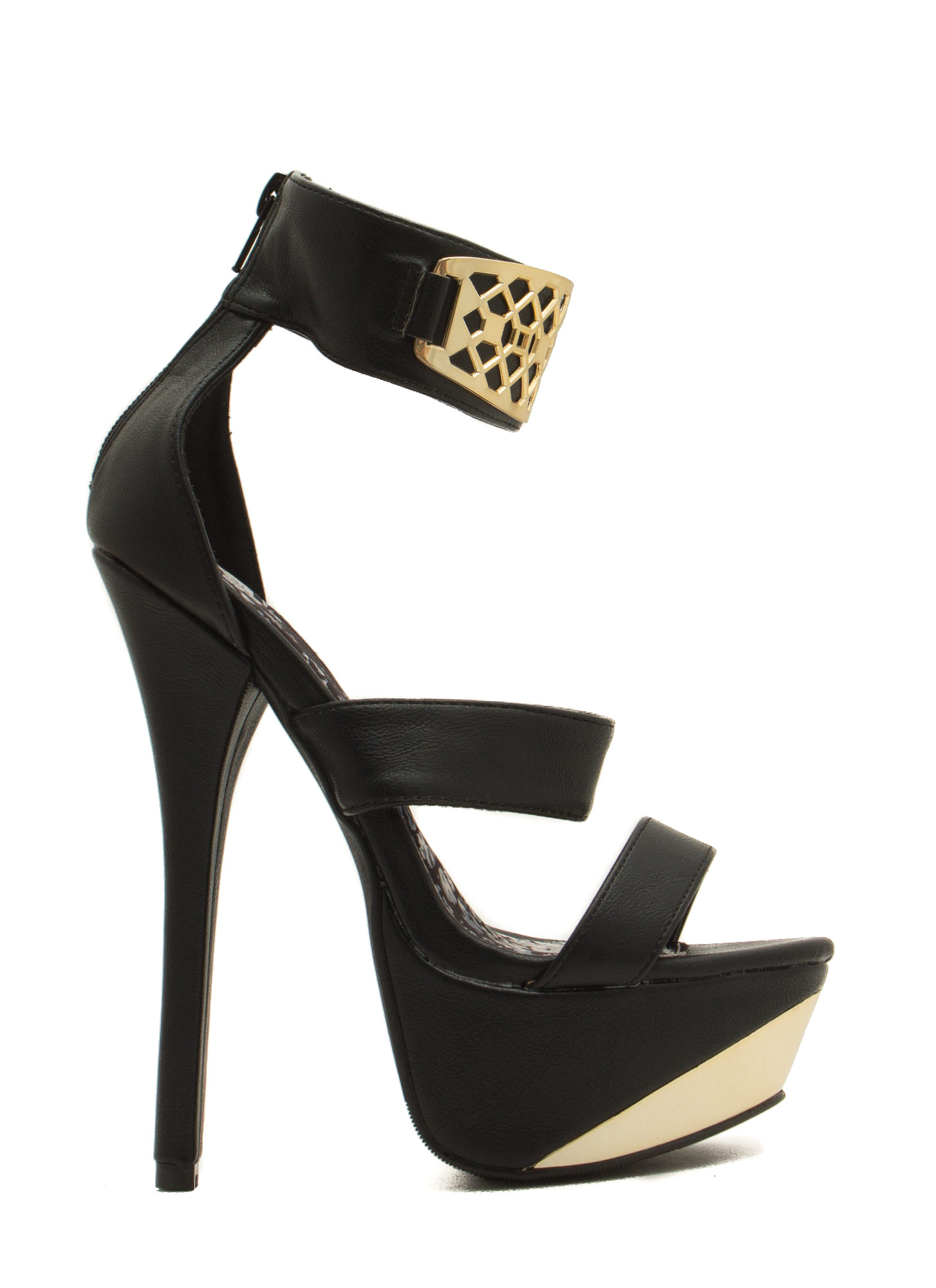 Honeycomb Panel Platform Heels BLACK