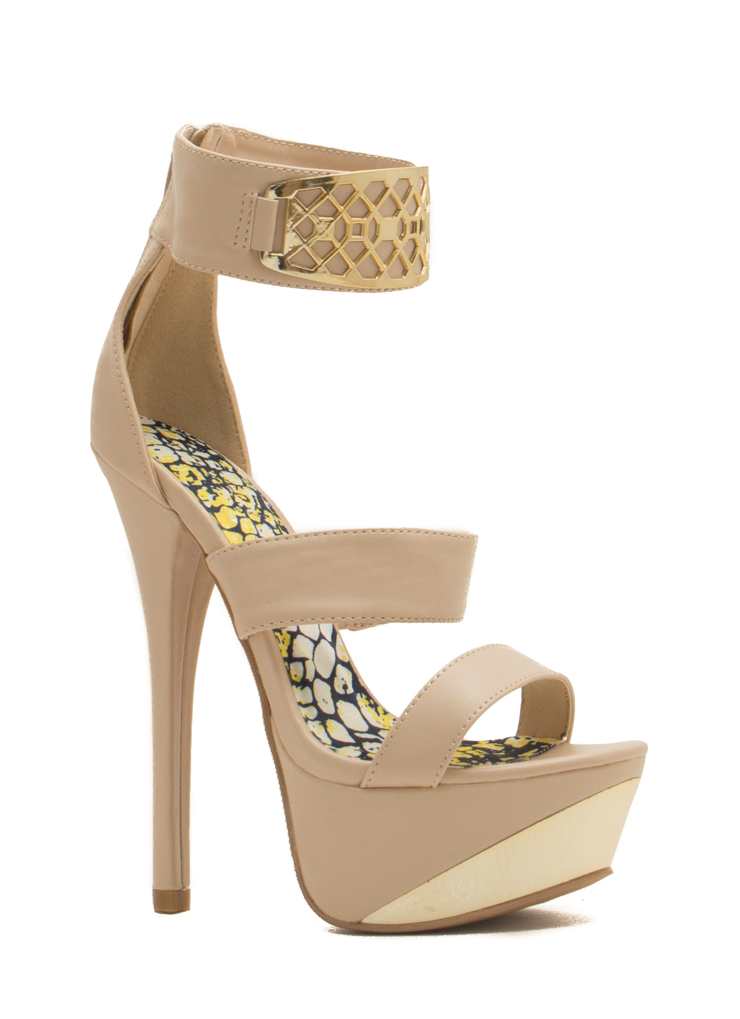 Honeycomb Panel Platform Heels NUDE