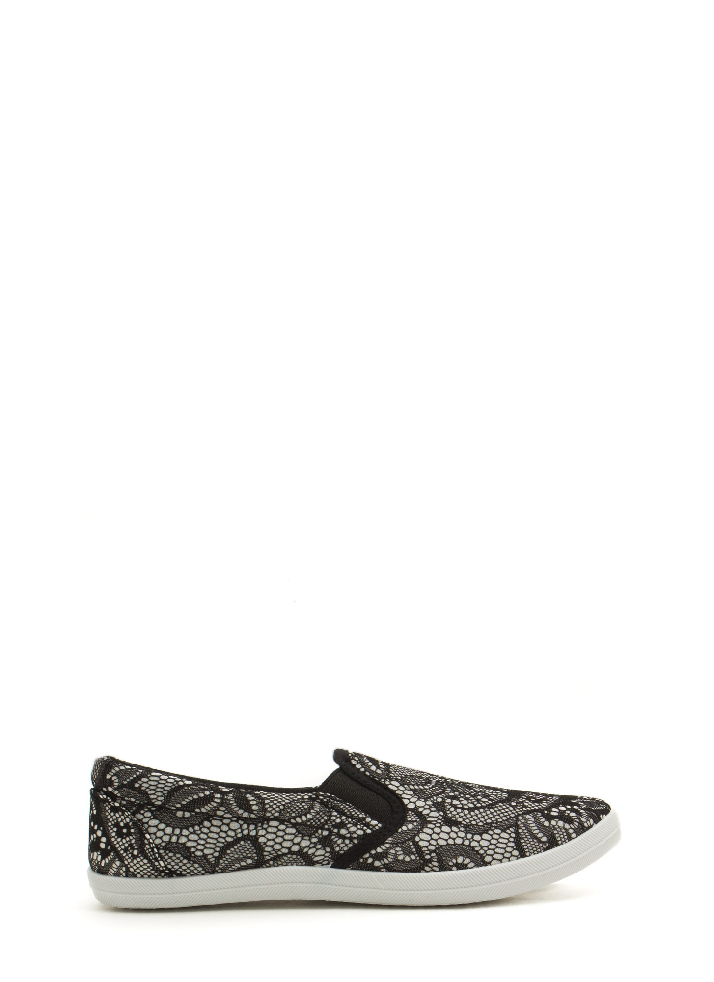 Lace To The Finish Textured Skimmers BLACK