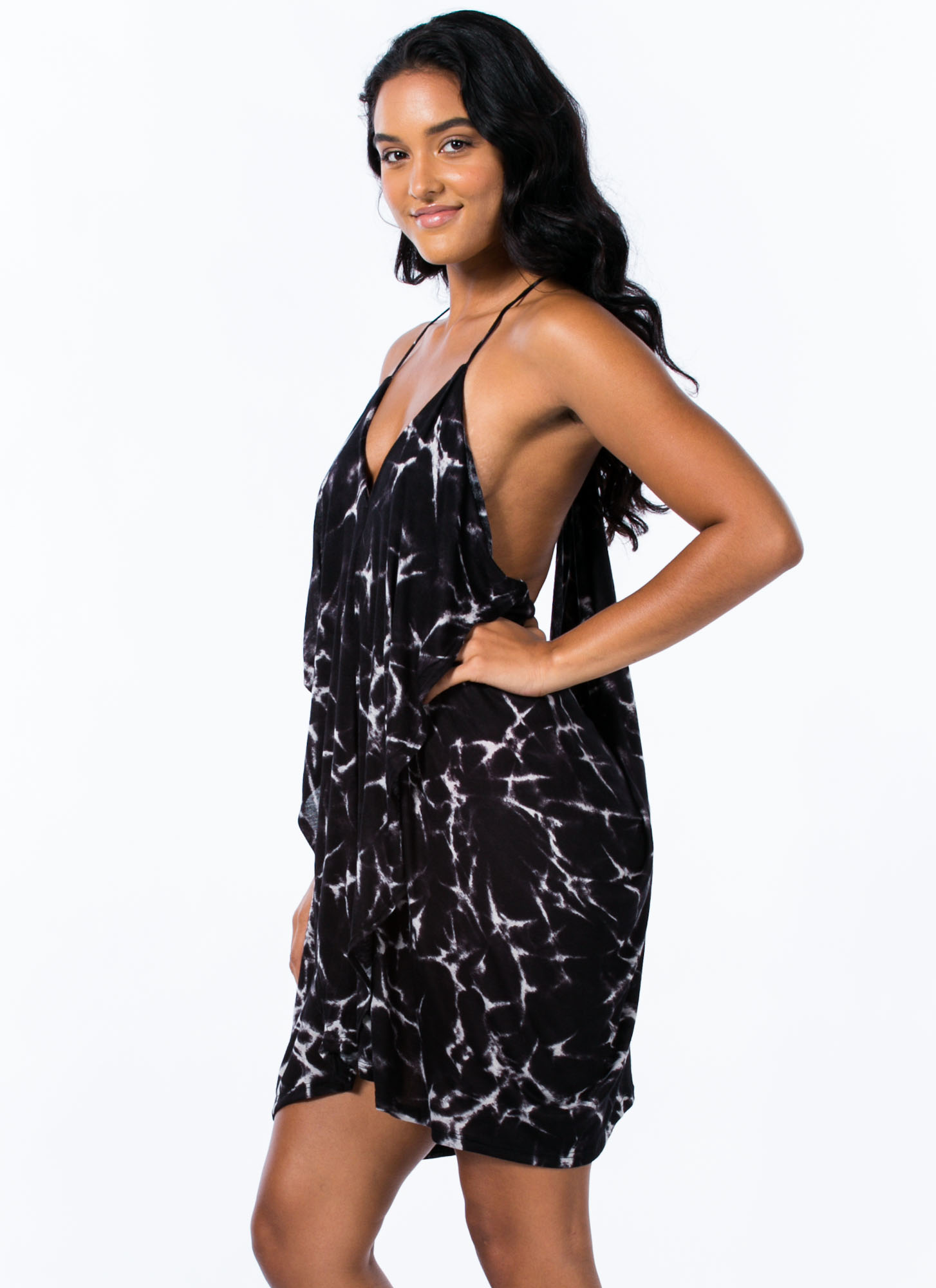 Draped Crusader Strappy Tie-Dye Dress BLACK