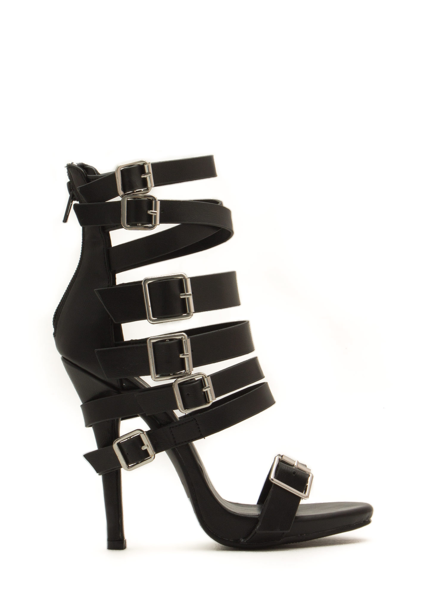 That's A Strap Buckled Faux Leather Heels BLACK