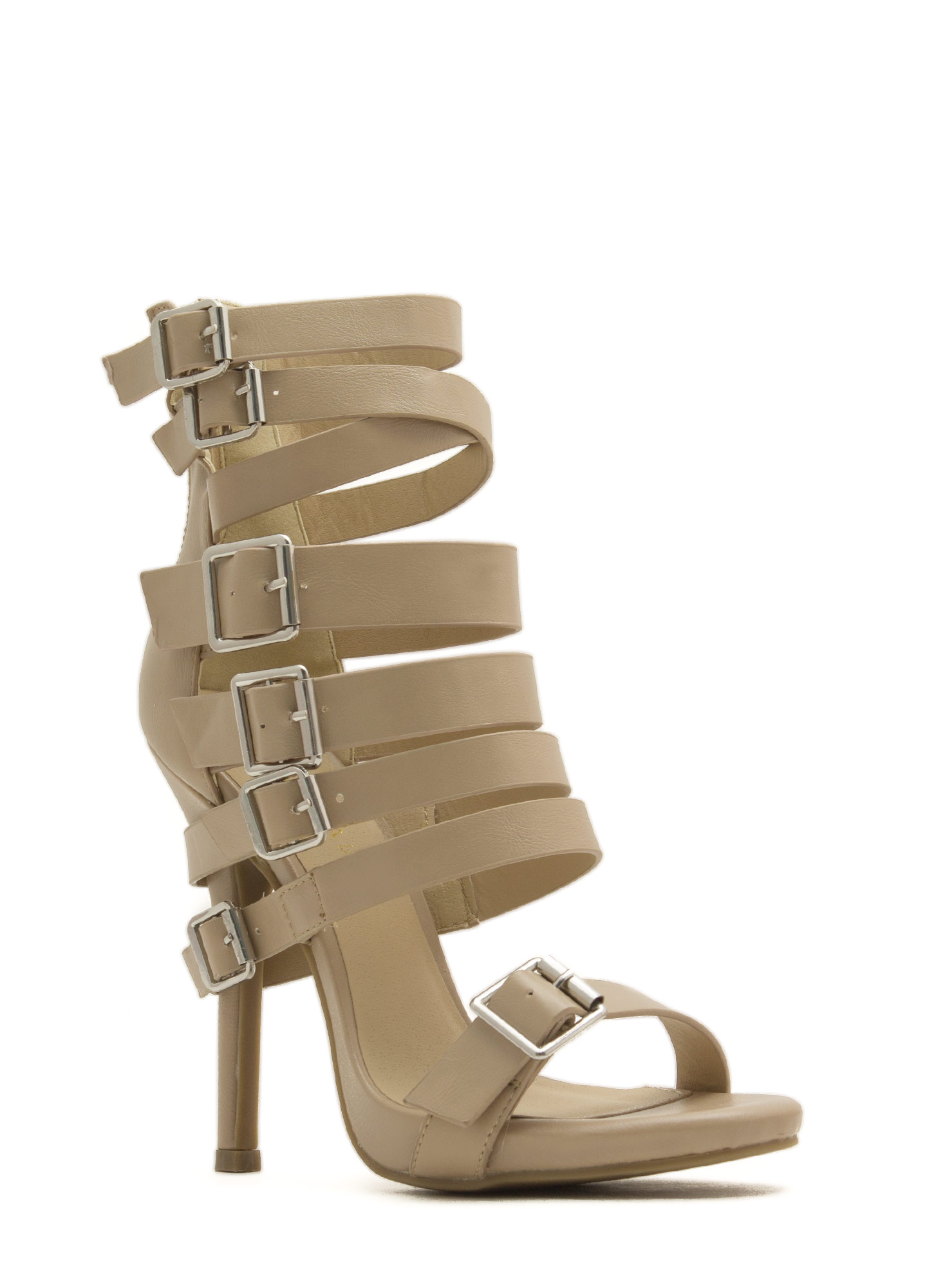 That's A Strap Buckled Faux Leather Heels NATURAL