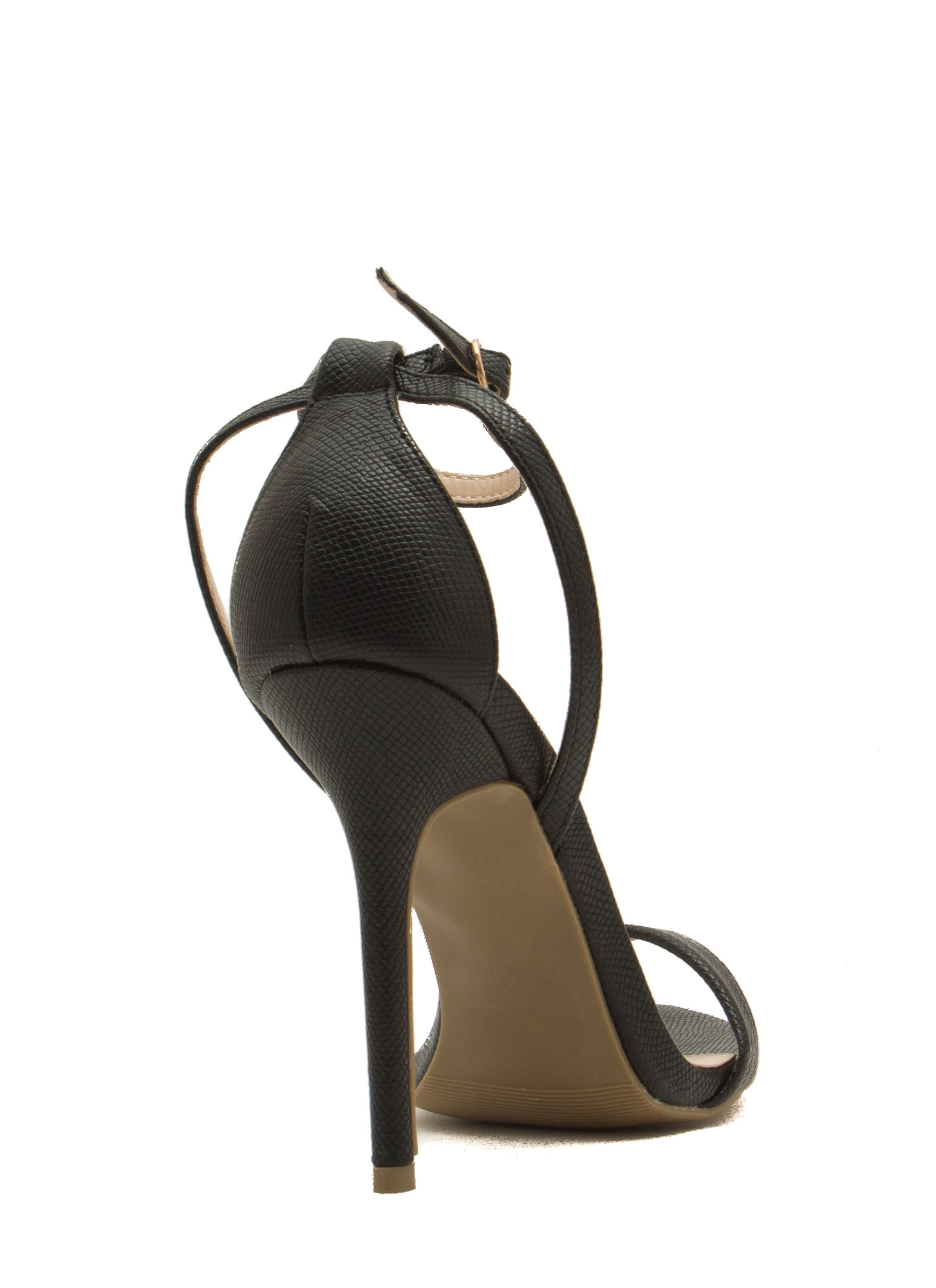 Snake Around Single-Strap Heels BLACK