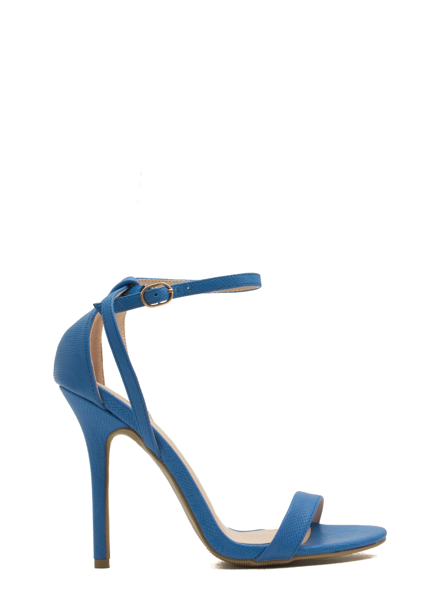 Snake Around Single-Strap Heels COBALT