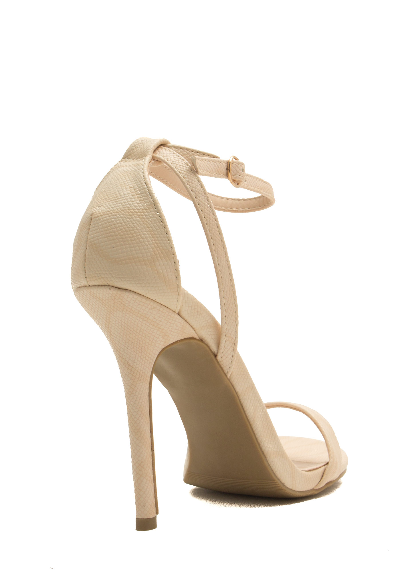 Snake Around Single-Strap Heels NATURAL