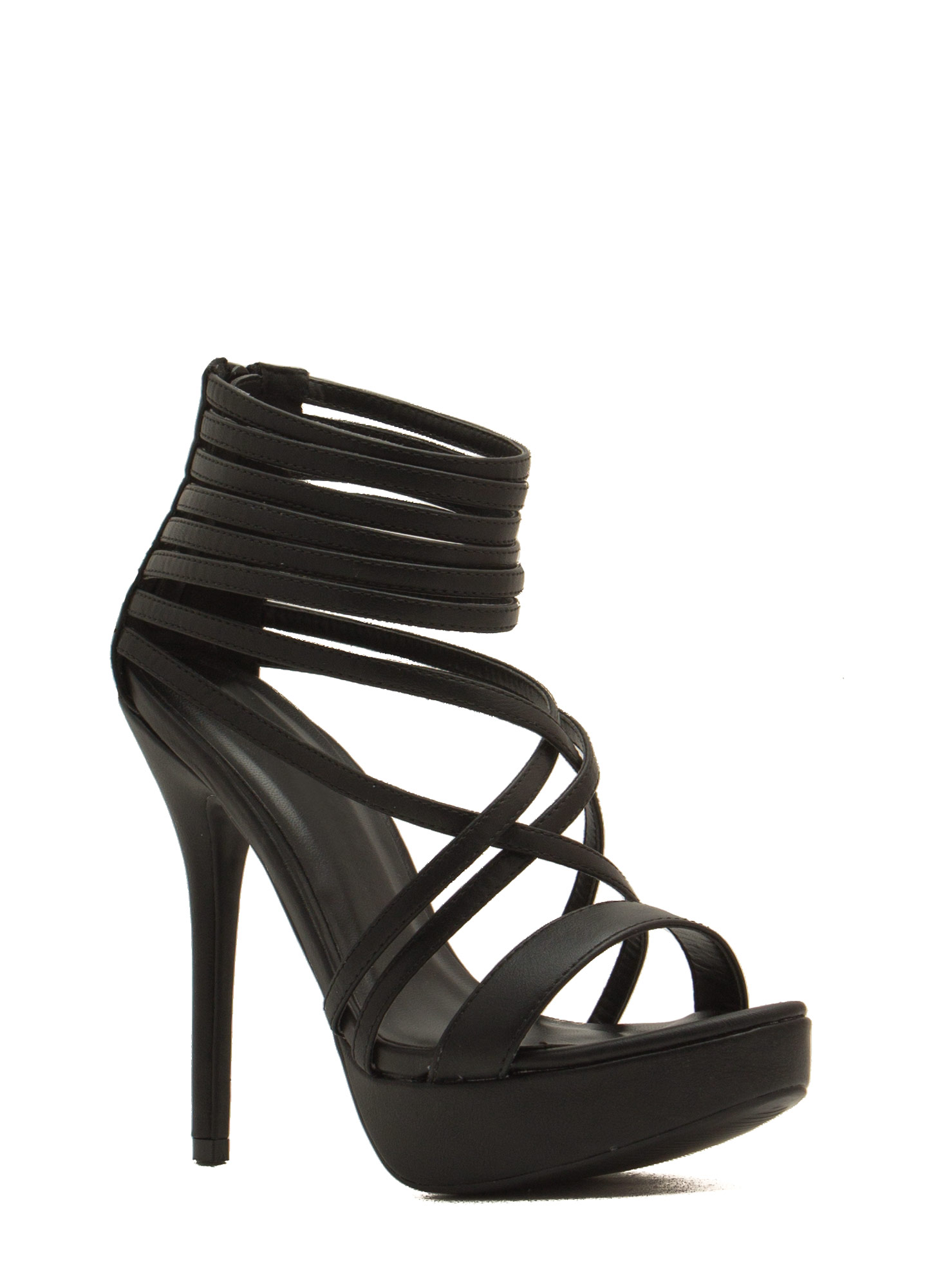 Strap Attack Faux Leather Heels BLACK