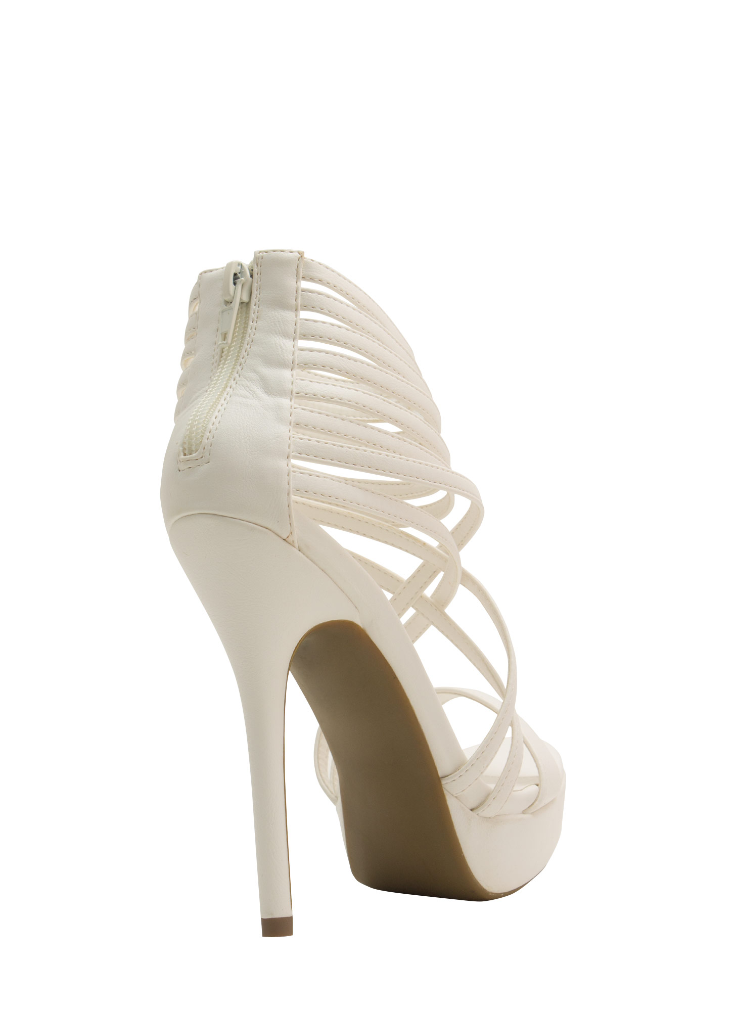 Strap Attack Faux Leather Heels WHITE