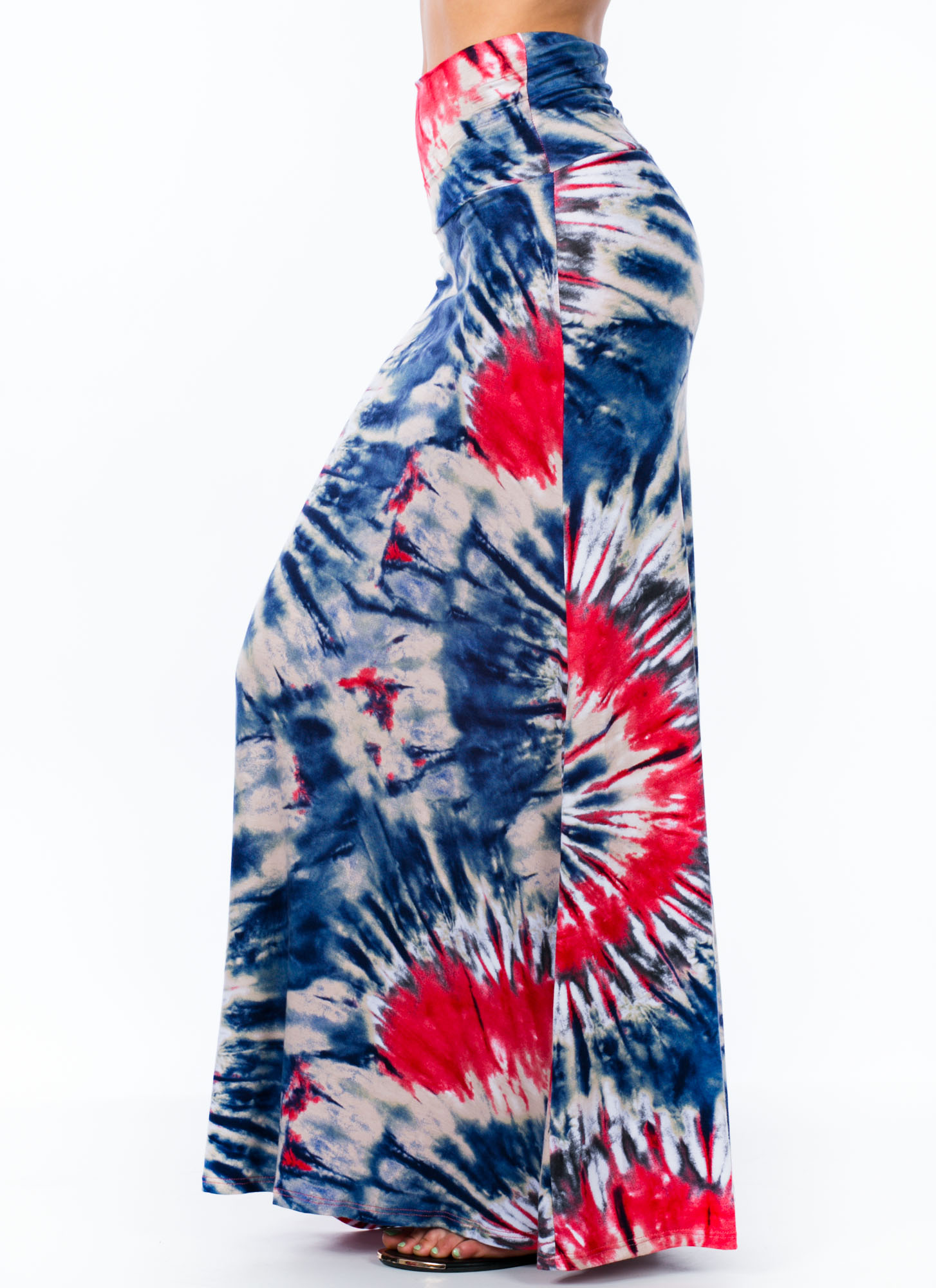 It's A Tie-Dye Foldover Maxi Skirt BLUE