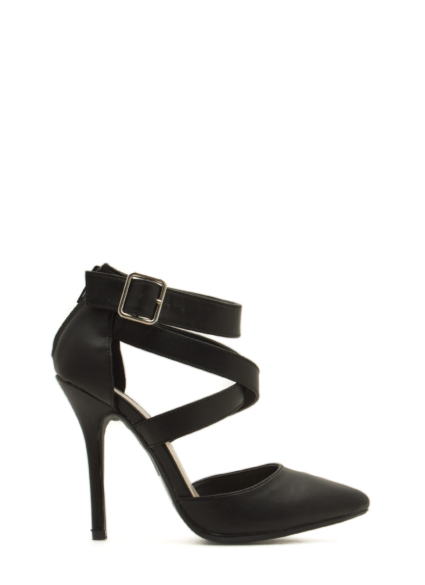Wrapped Crisscrossed Heels BLACK