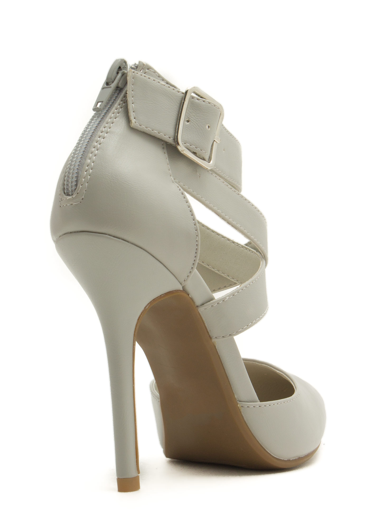 Wrapped Crisscrossed Heels LTGREY