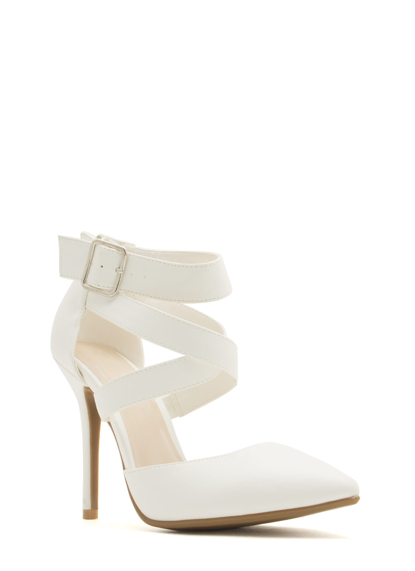Wrapped Crisscrossed Heels WHITE
