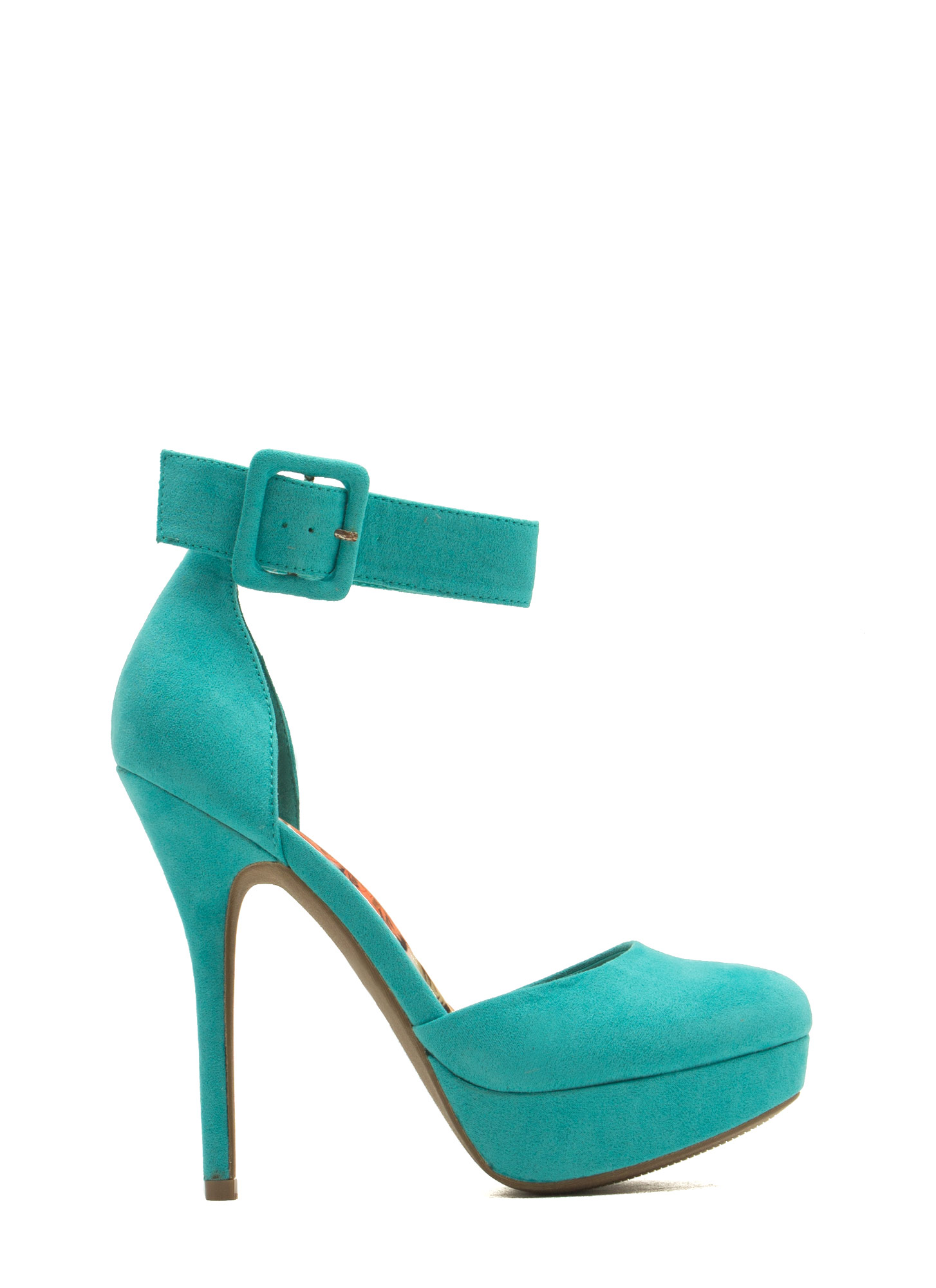 Strappy Platform D'Orsay Heels TURQUOISE