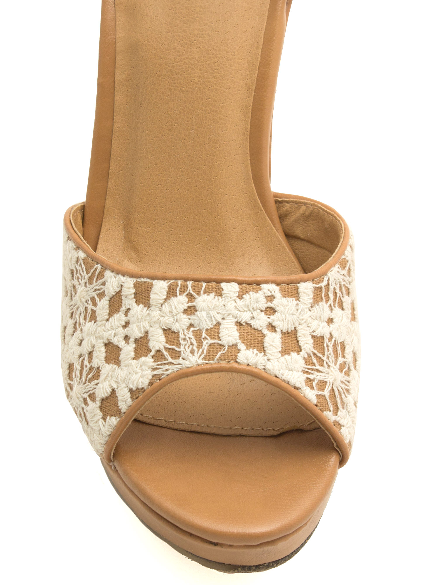 Crocheted Peep-Toe Platform Wedges BEIGE