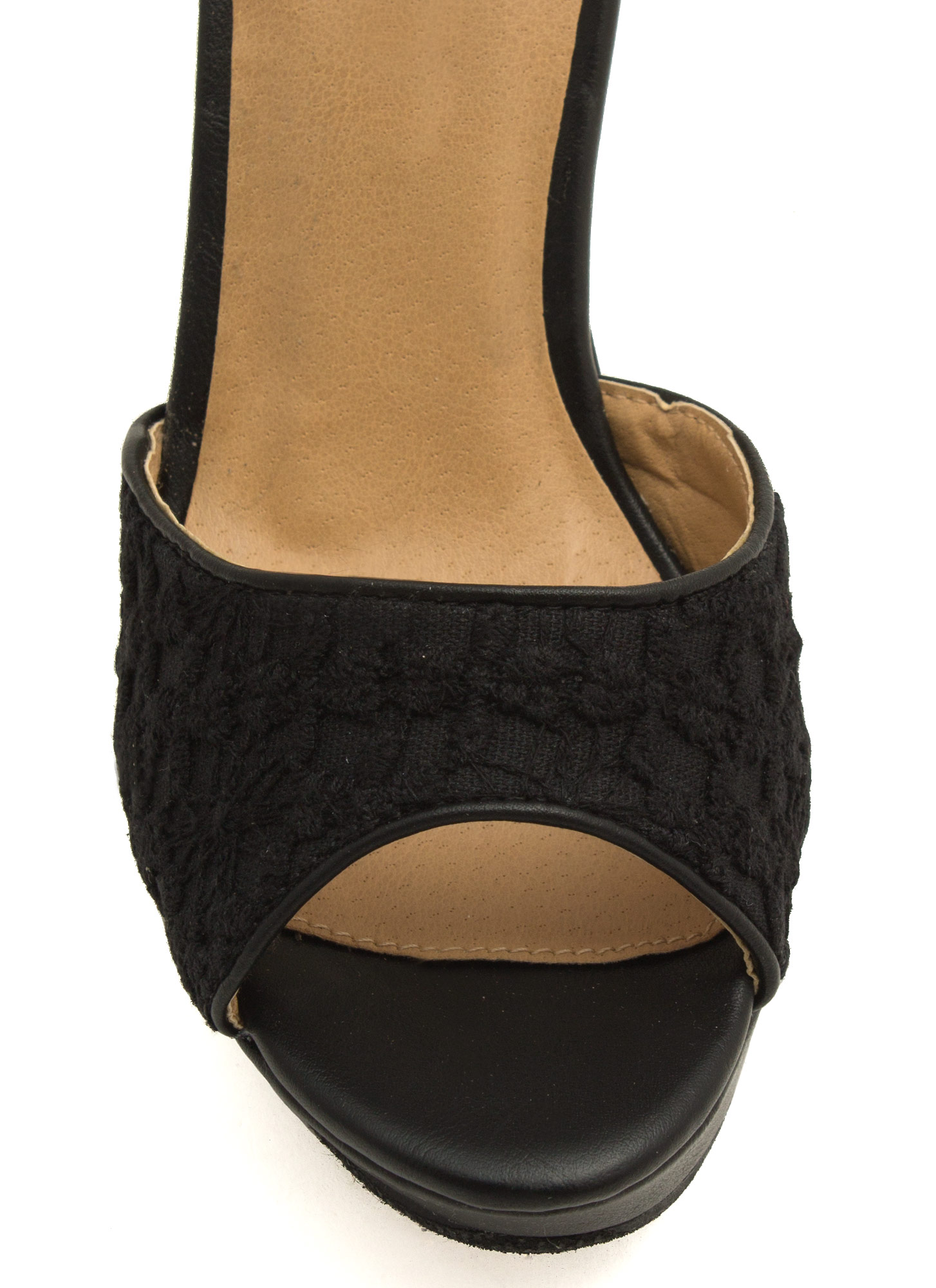 Crocheted Peep-Toe Platform Wedges BLACK