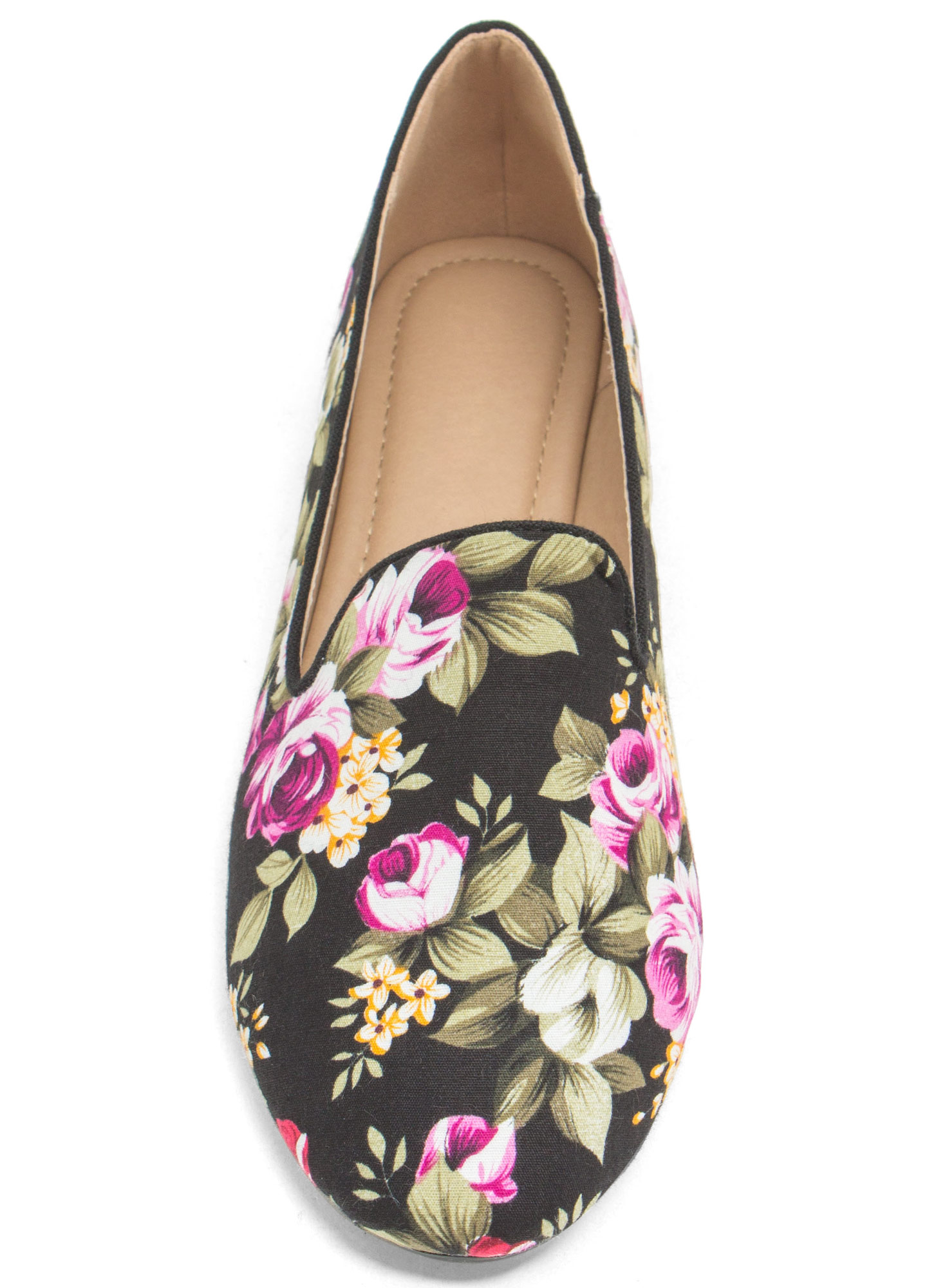 Fascinating In Floral Smoking Flats BLACK
