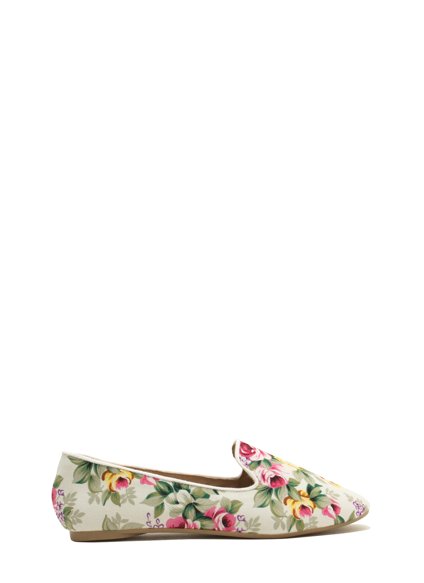 Fascinating In Floral Smoking Flats WHITE