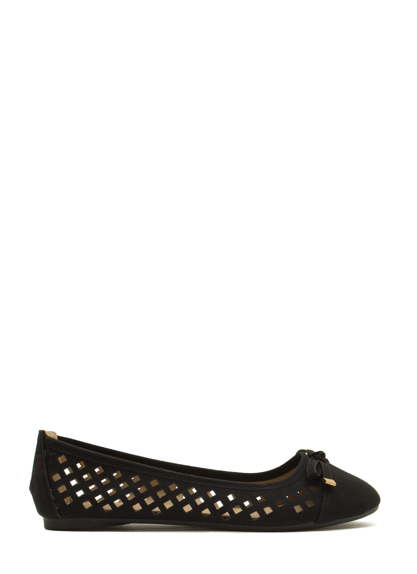 Feel My Pane Laser-Cut Bow Tied Flats BLACK