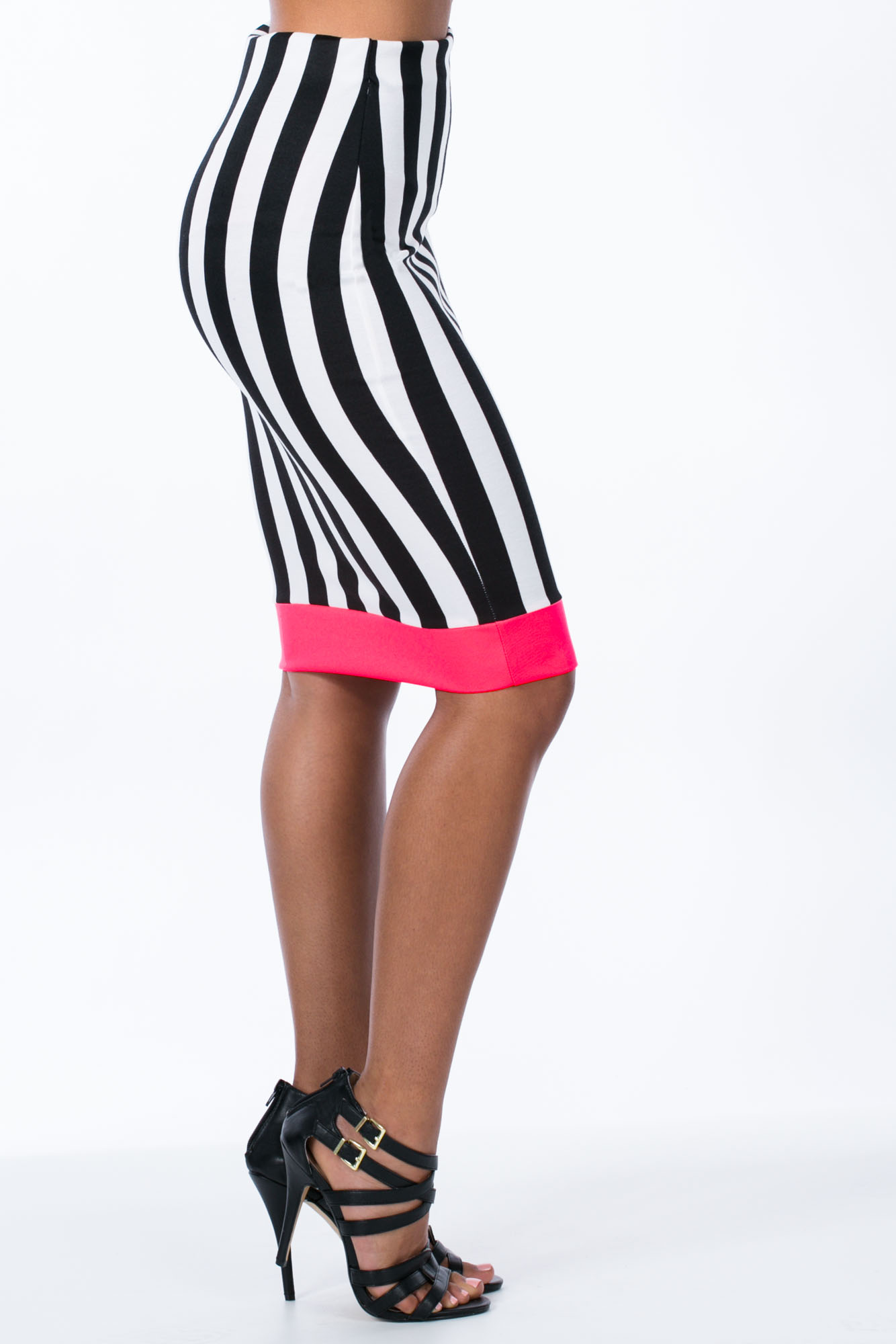 Neon The Way Down Striped Midi Skirt BLACKWHITE