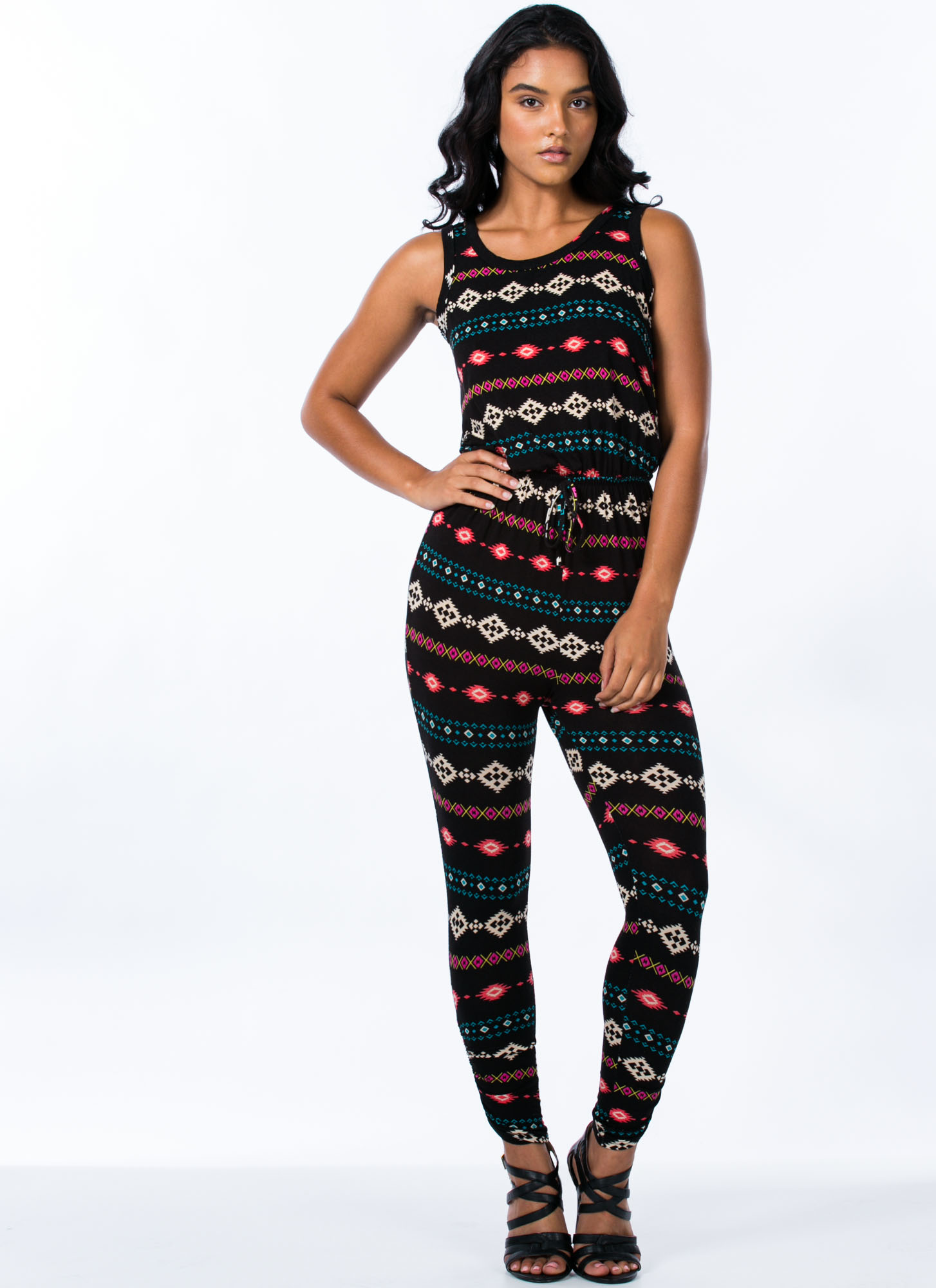 Tribal Surplice Back Jumpsuit BLACK