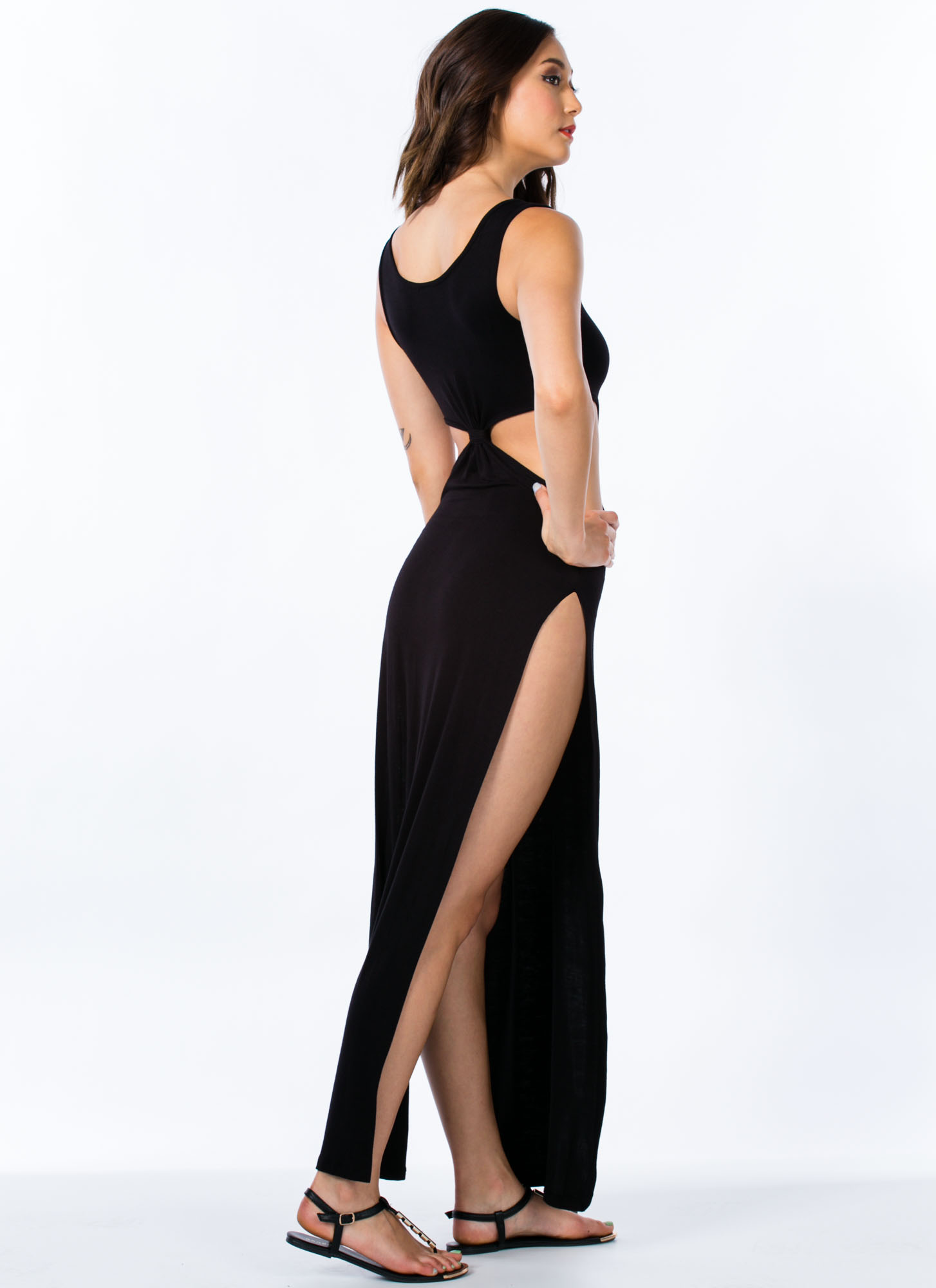 Cut-Out Double Slit Maxi Dress BLACK