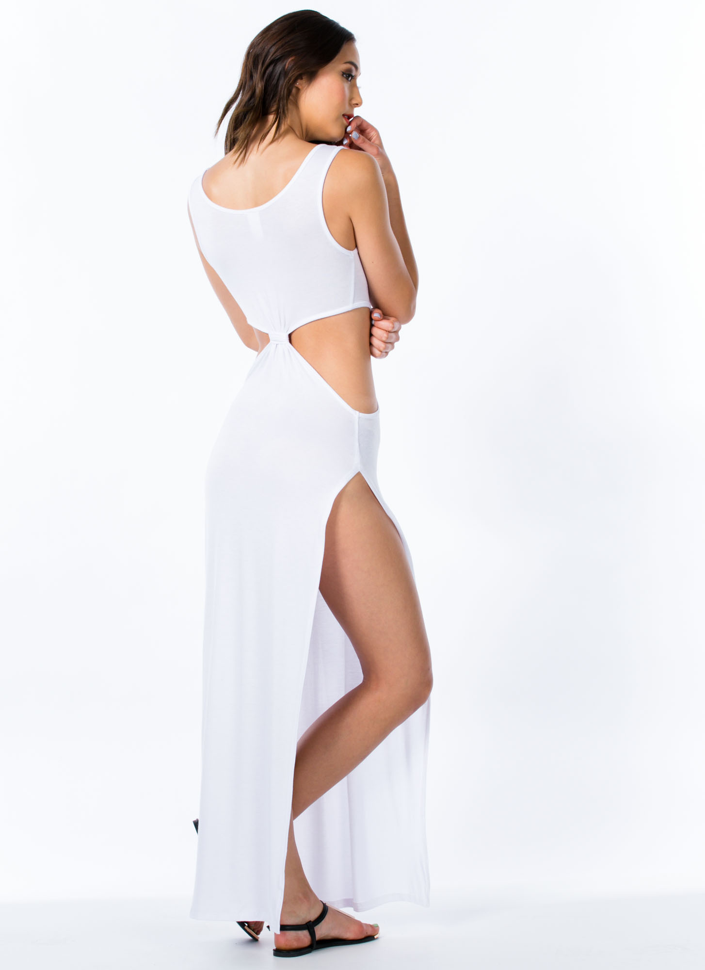 Cut-Out Double Slit Maxi Dress WHITE