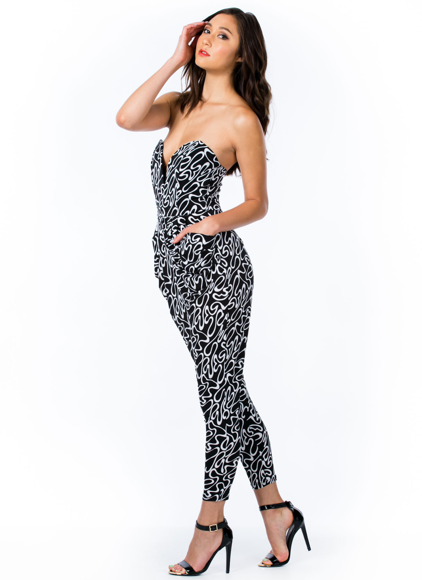 Abstract Doodles Sweetheart Jumpsuit BLACK