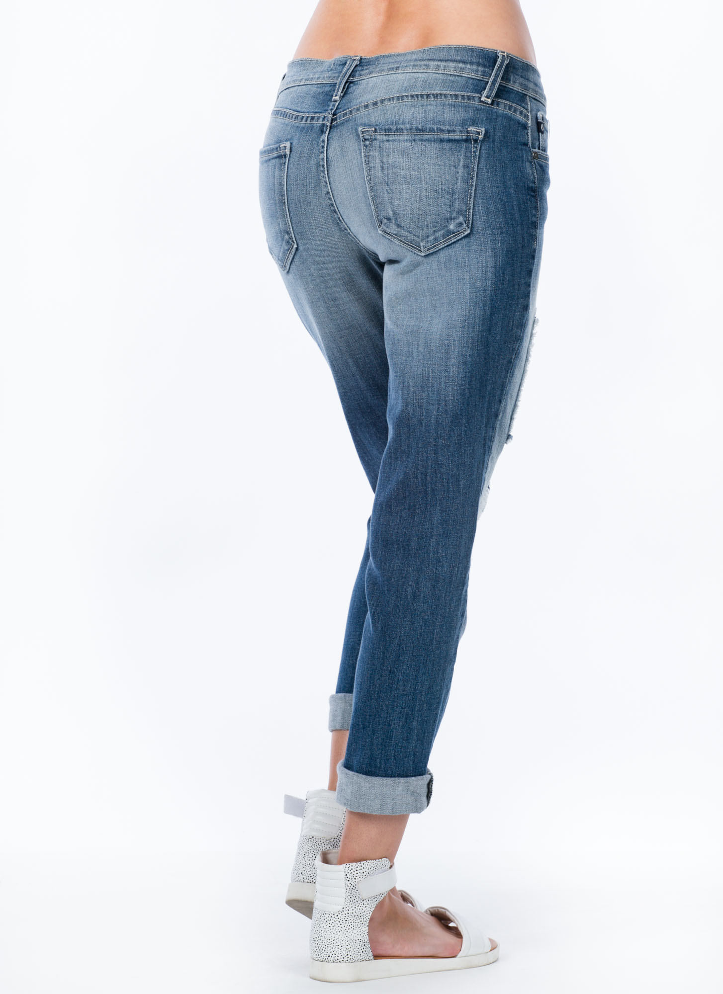 Box It Up Patched Boyfriend Jeans BLUE