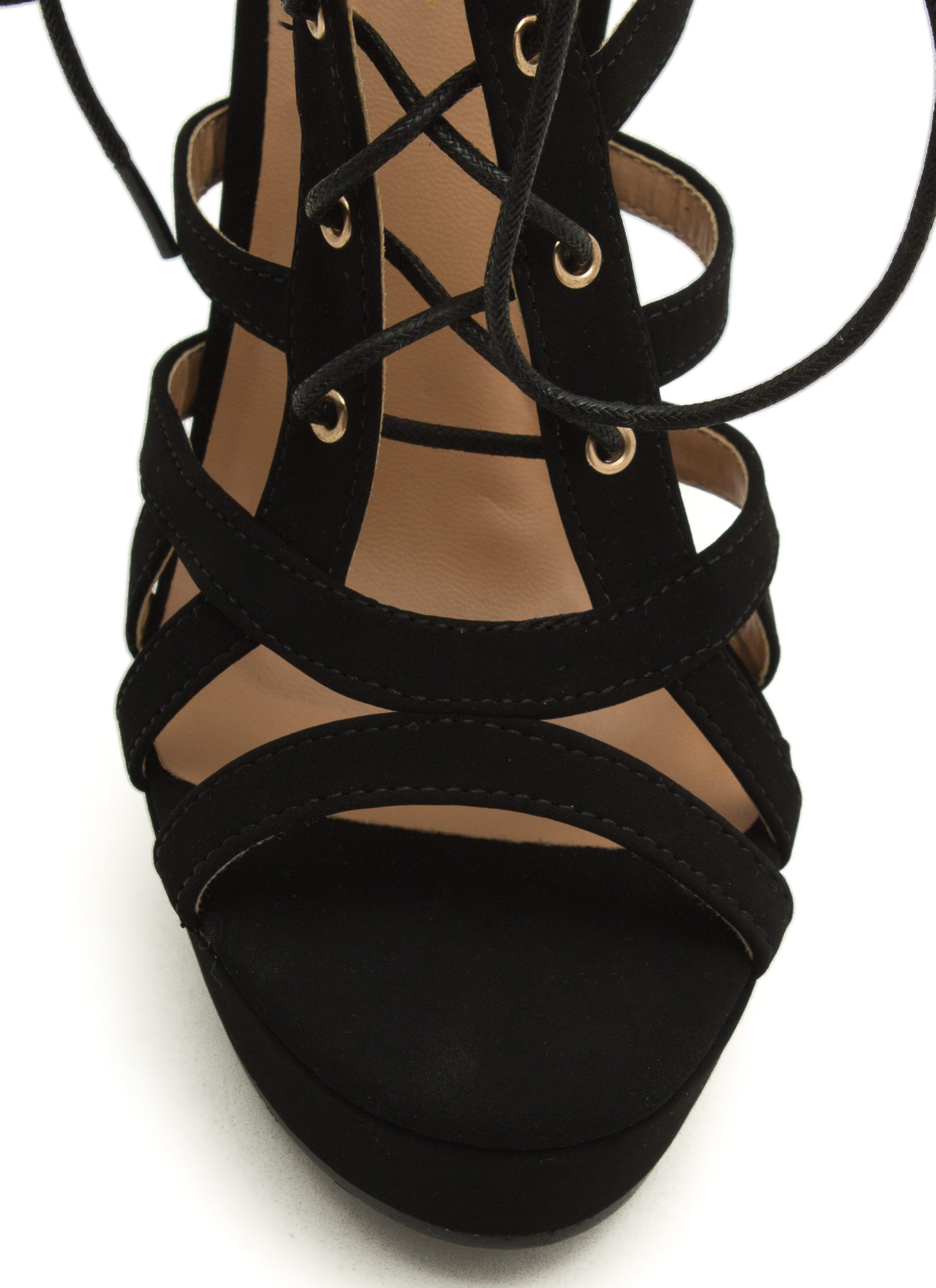 Secret Is Cut-Out Lace-Up Heels BLACK