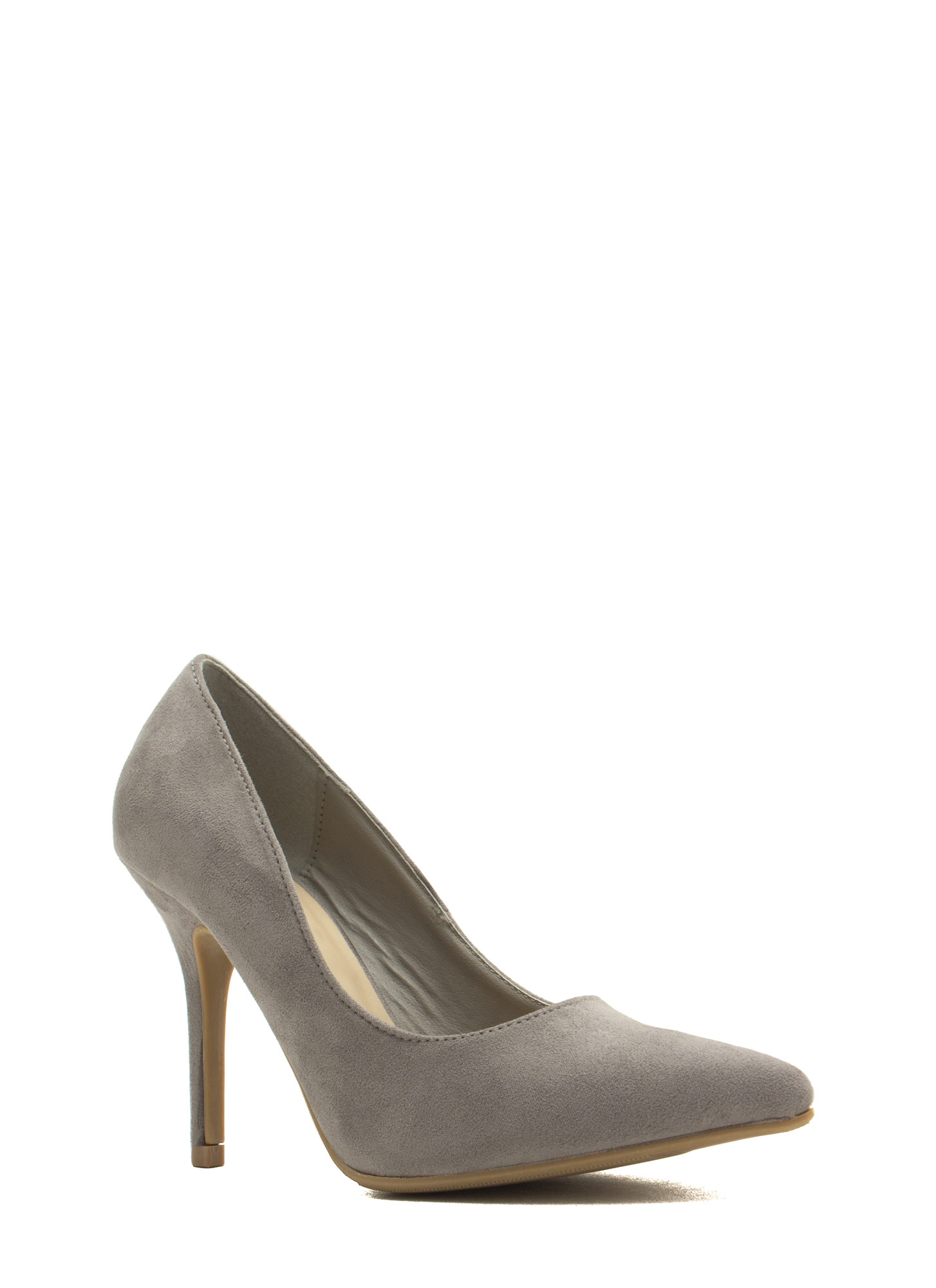 To The Point Faux Suede Heels GREY