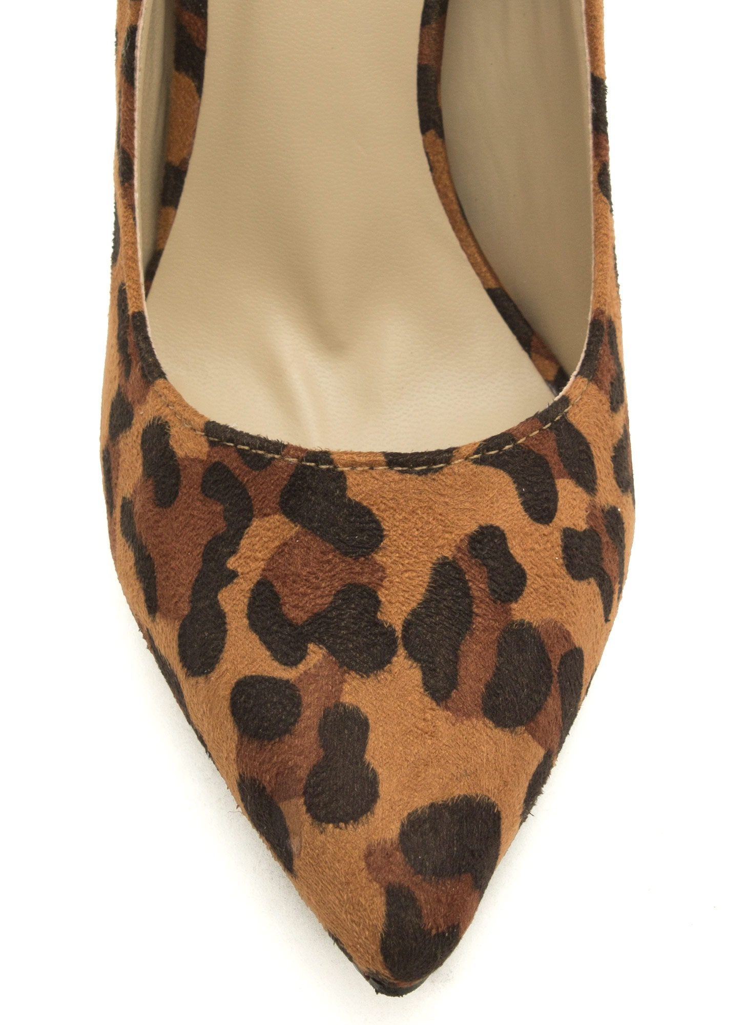 To The Point Faux Suede Heels LEOPARD