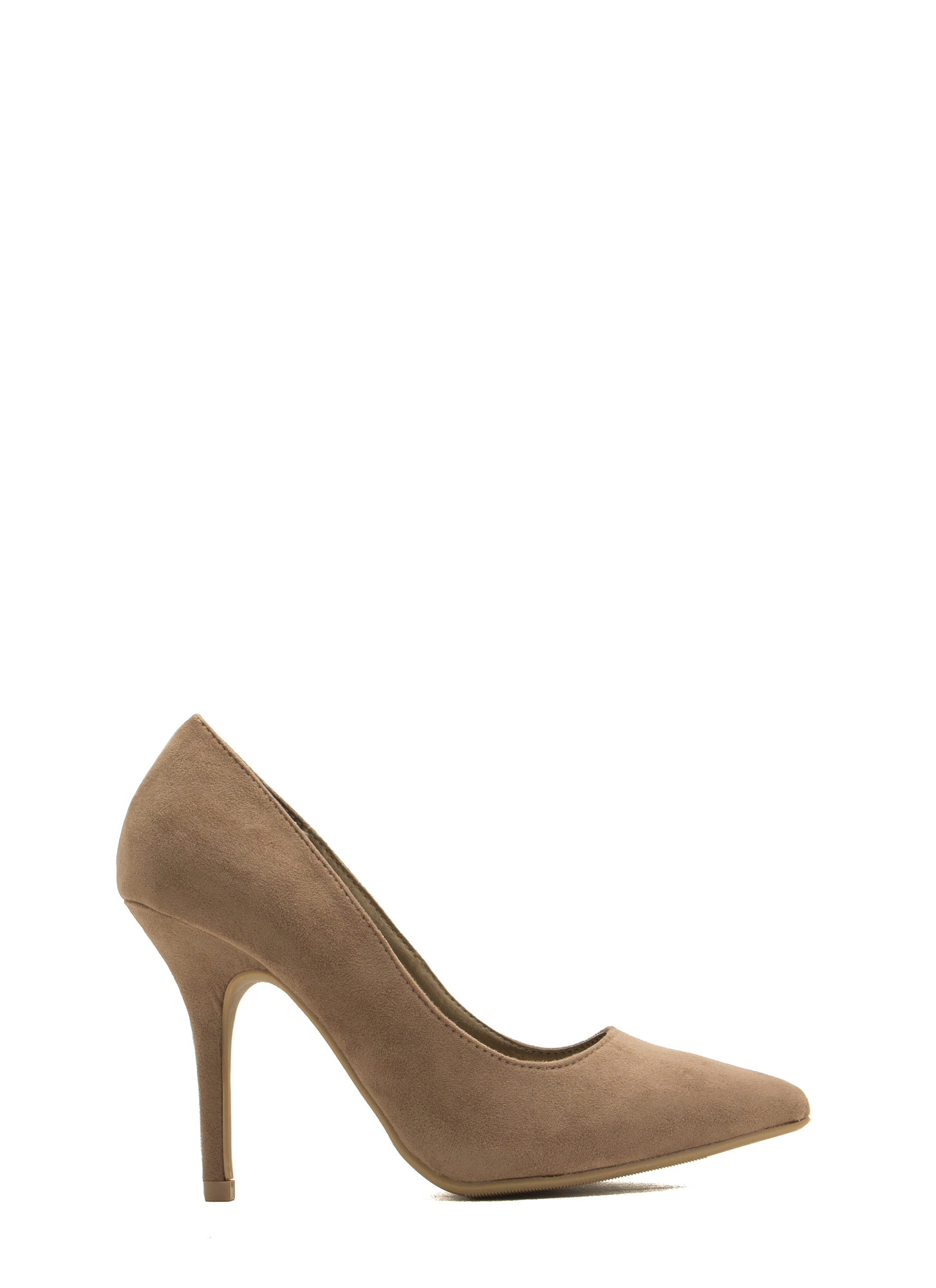 To The Point Faux Suede Heels TAUPE