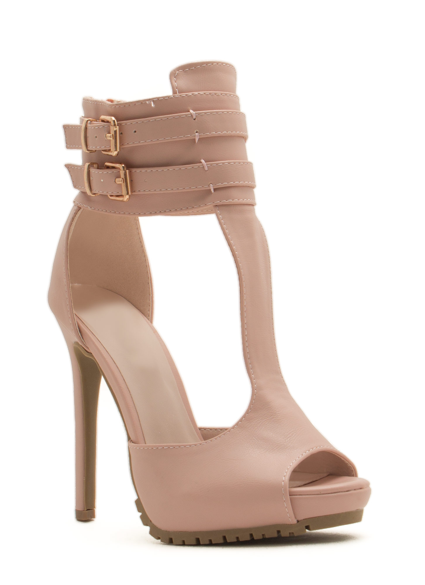 Good Luck Double Buckle T-Strap Heels NUDE