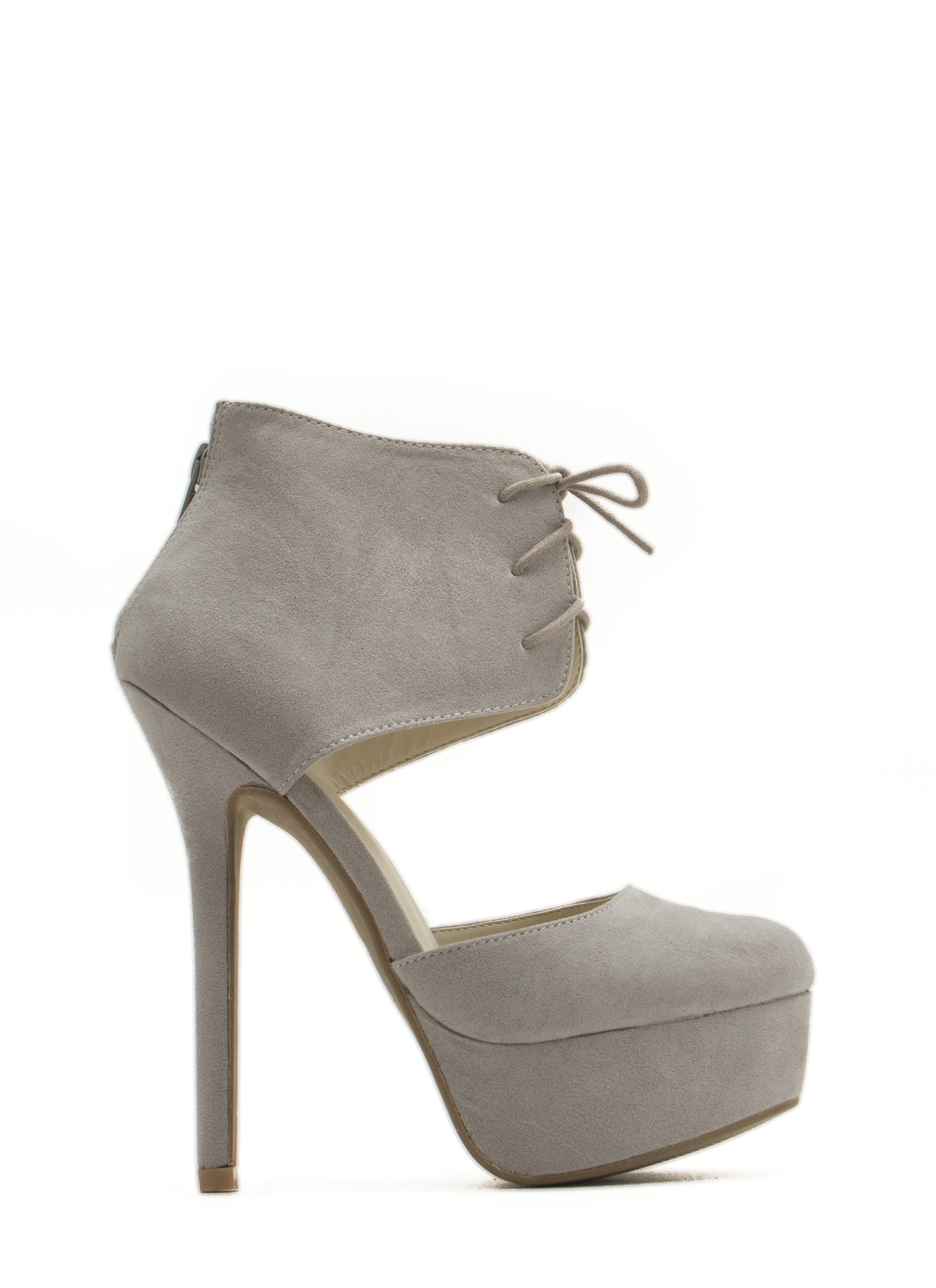 Wrapped Lace-Up Platform Heels LTGREY