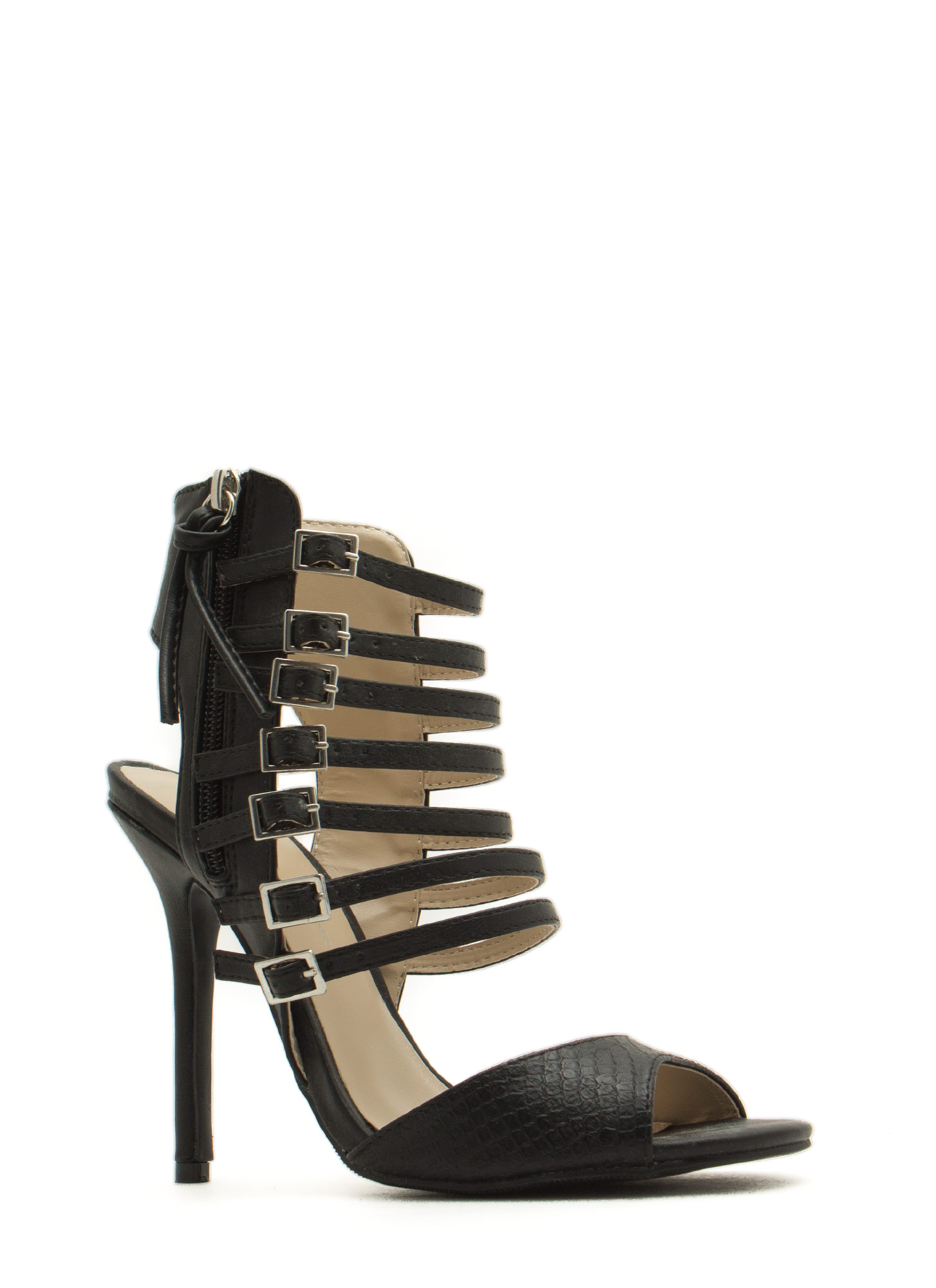 Seven Is Heaven Buckled Heels BLACK