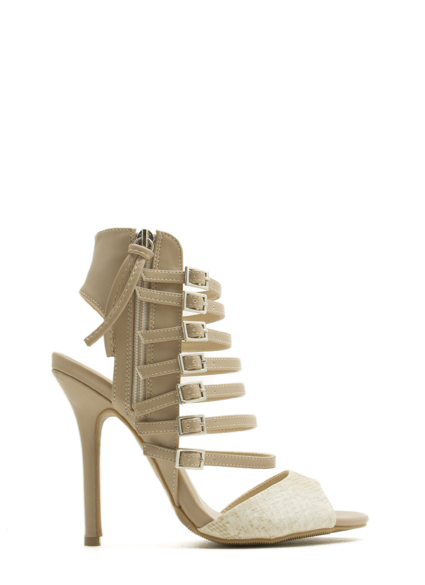 Seven Is Heaven Buckled Heels NATURAL