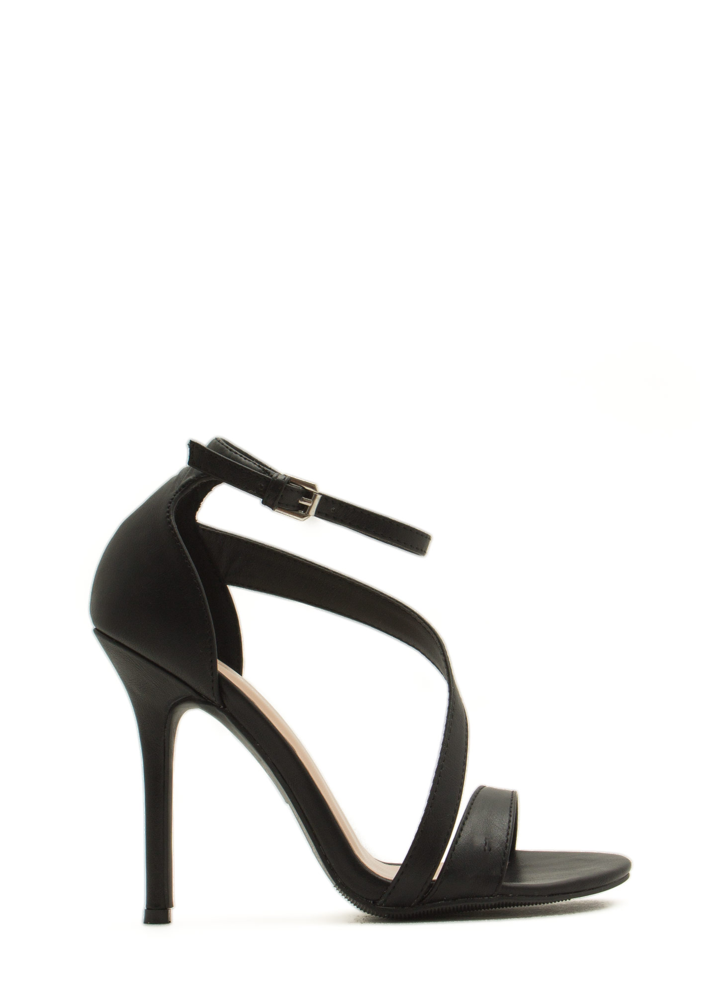 Single Swoop Strappy Heels BLACK