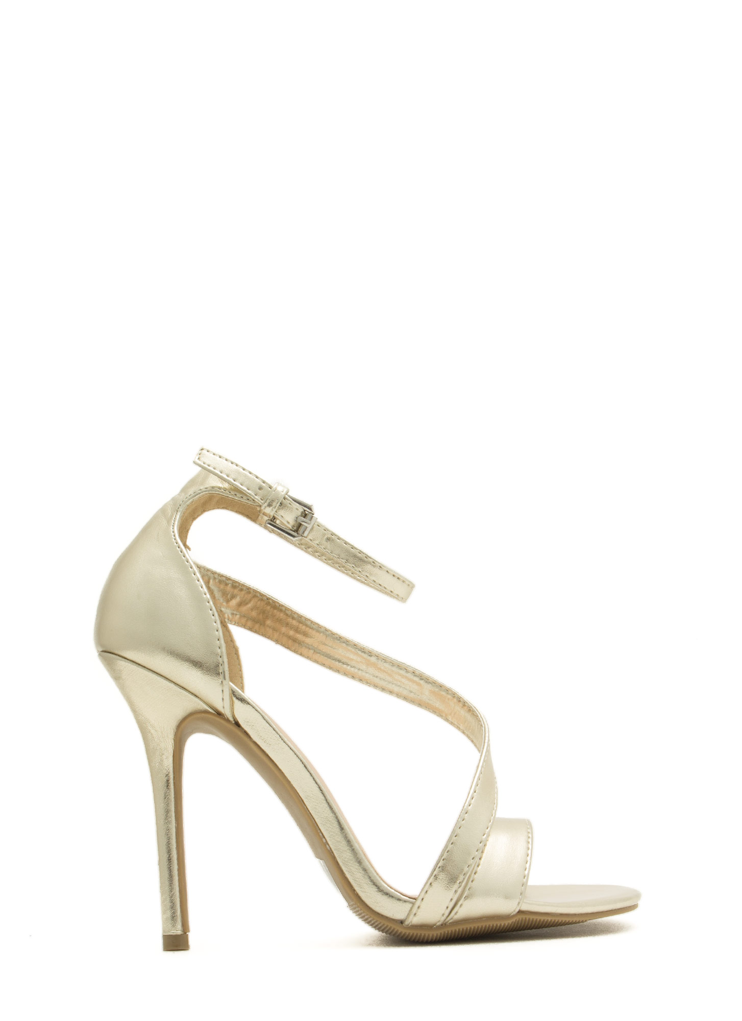 Single Swoop Strappy Heels GOLD
